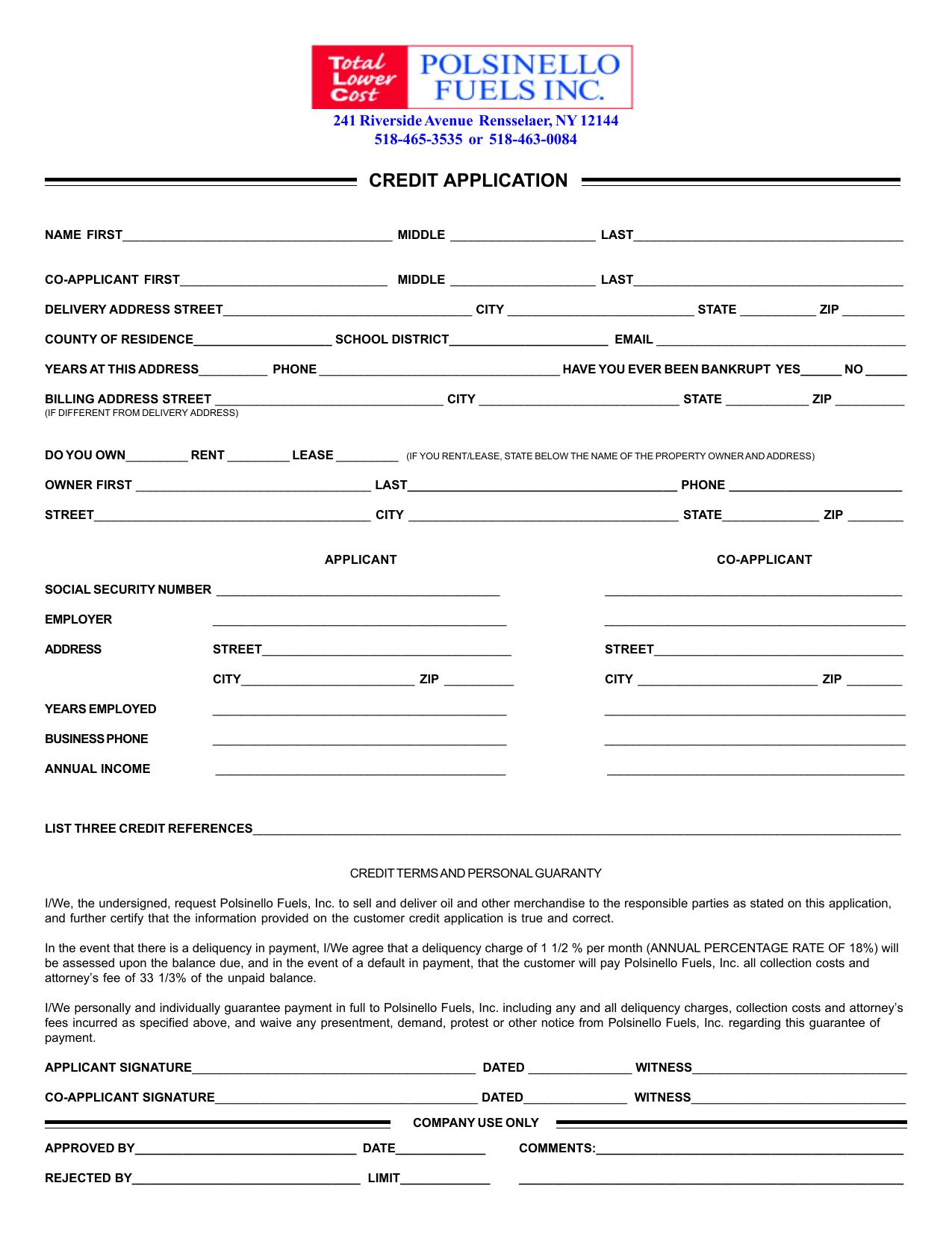 Printable Credit Application Propane Manualzz