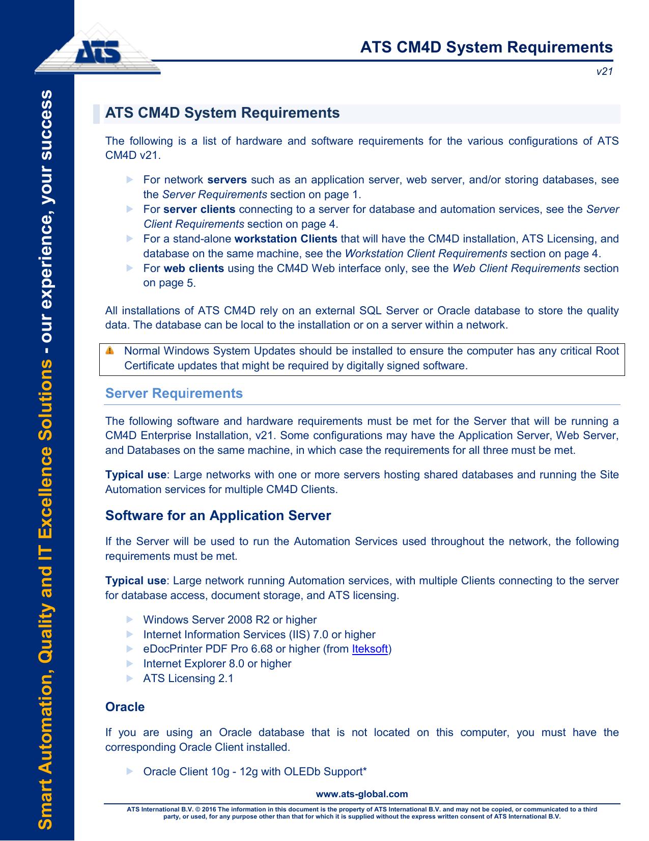 ATS CM4D System Requirements   manualzz com