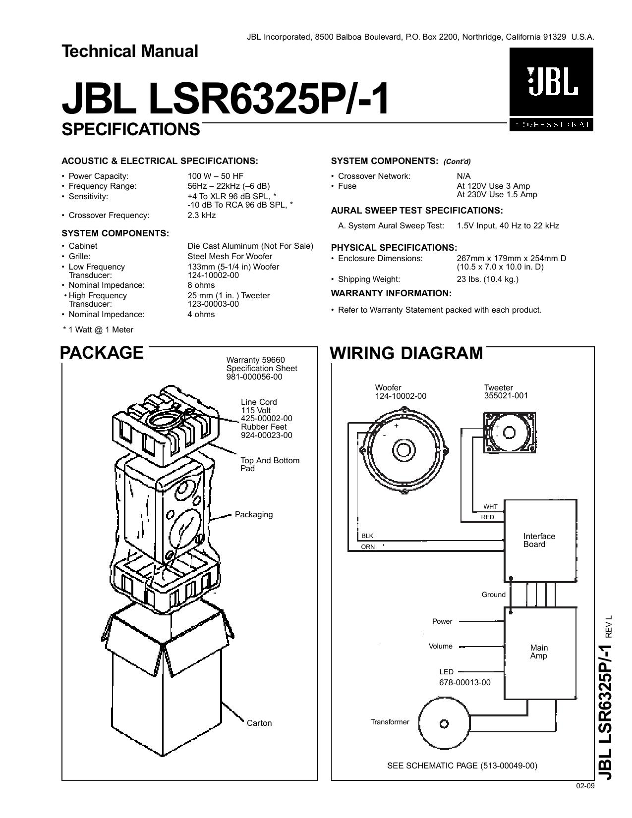 JBL LSR6325P/-1 - JBL Pro Service   Manualzz on