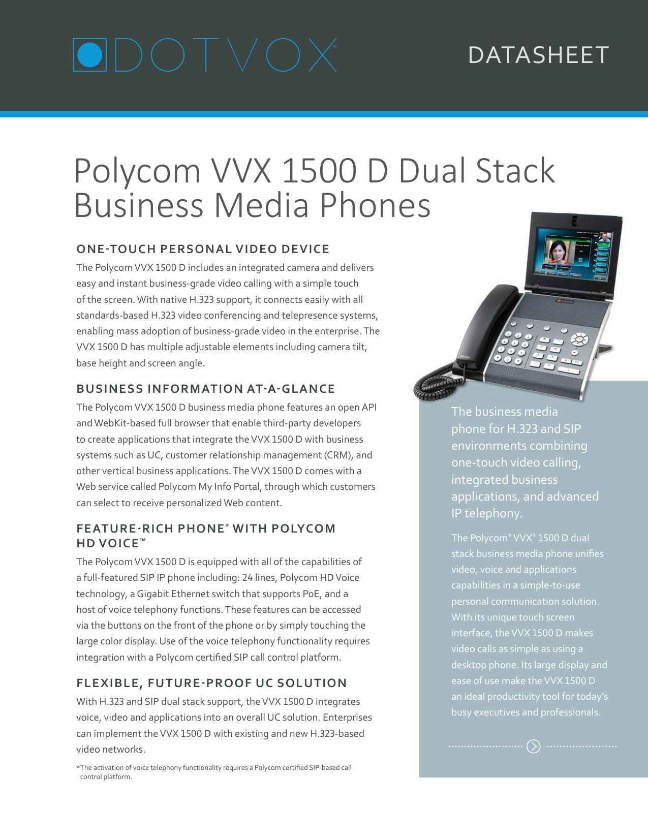 Polycom VVX 1500 D Dual Stack Business Media Phones | manualzz com