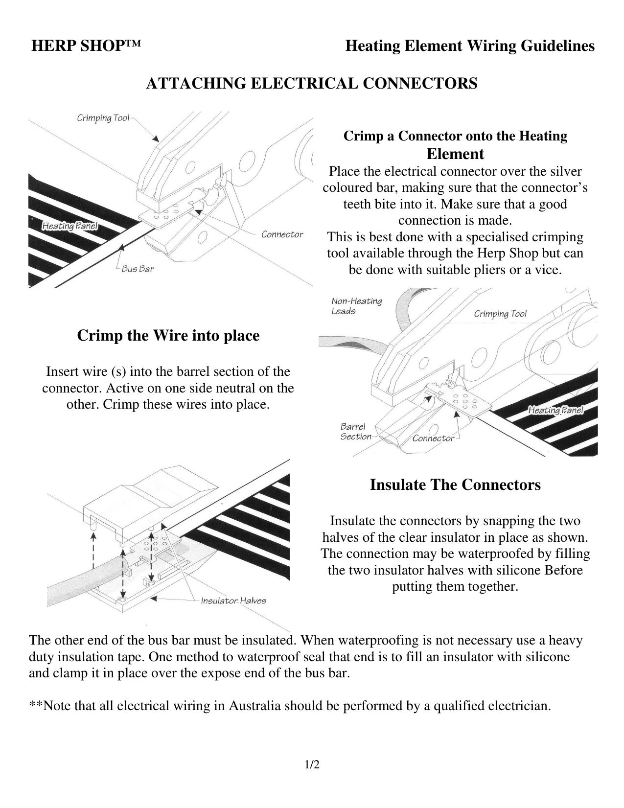 Herp Shop Heating Element Wiring Guidelines Manualzz Com