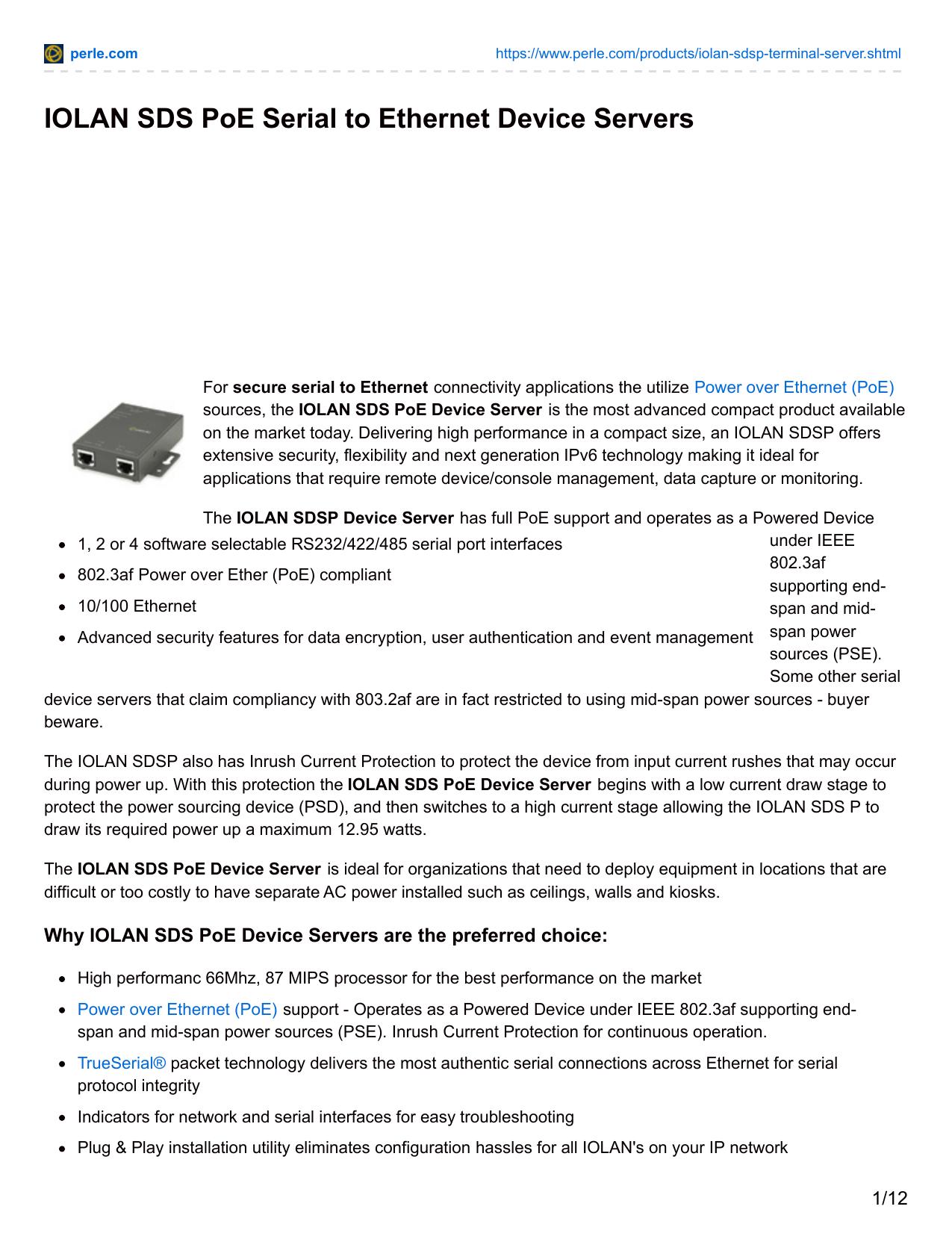 IOLAN SDS PoE Serial to Ethernet Device Servers | manualzz com