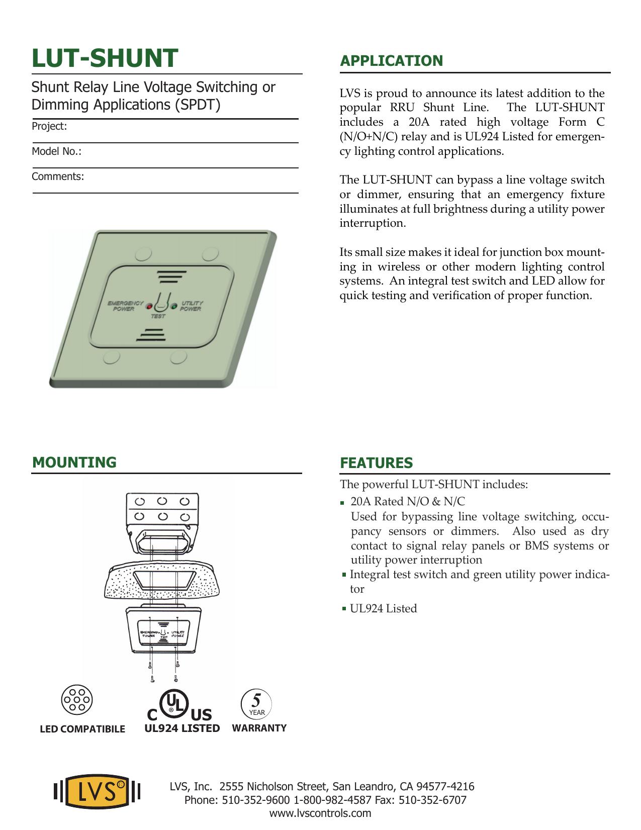 lut-shunt - LVS Controls | manualzz.com on ul 924 transfer relay, rib relay diagram, ul 924 bypass relay,