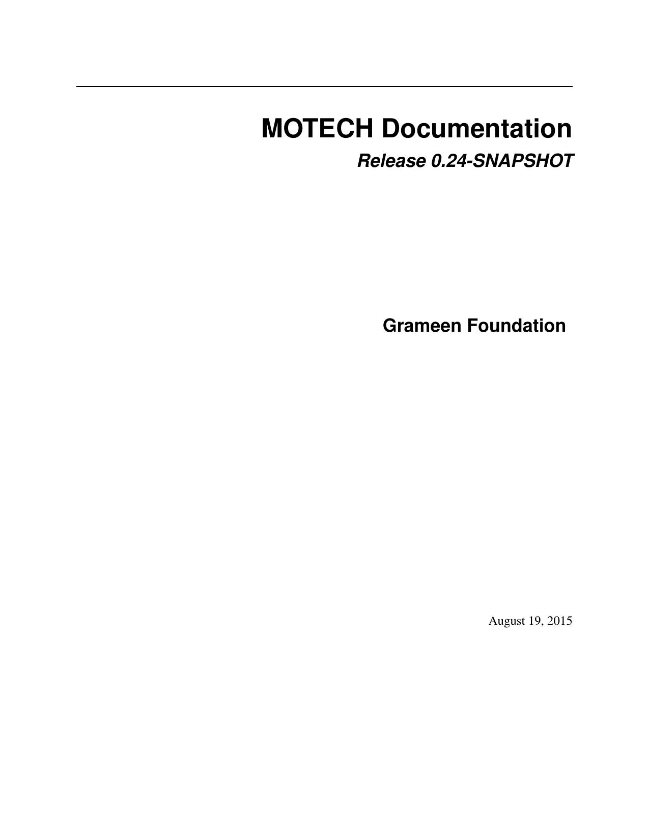 MOTECH Documentation | manualzz com