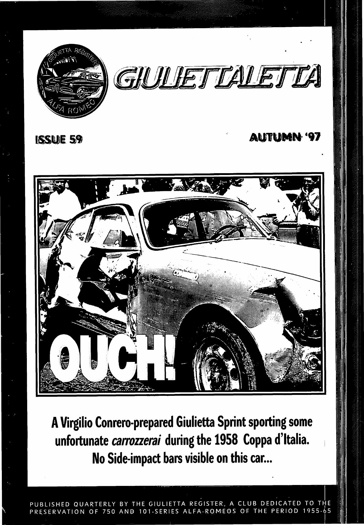 A Virgilio Conrero prepared Giulietta Sprint sporting