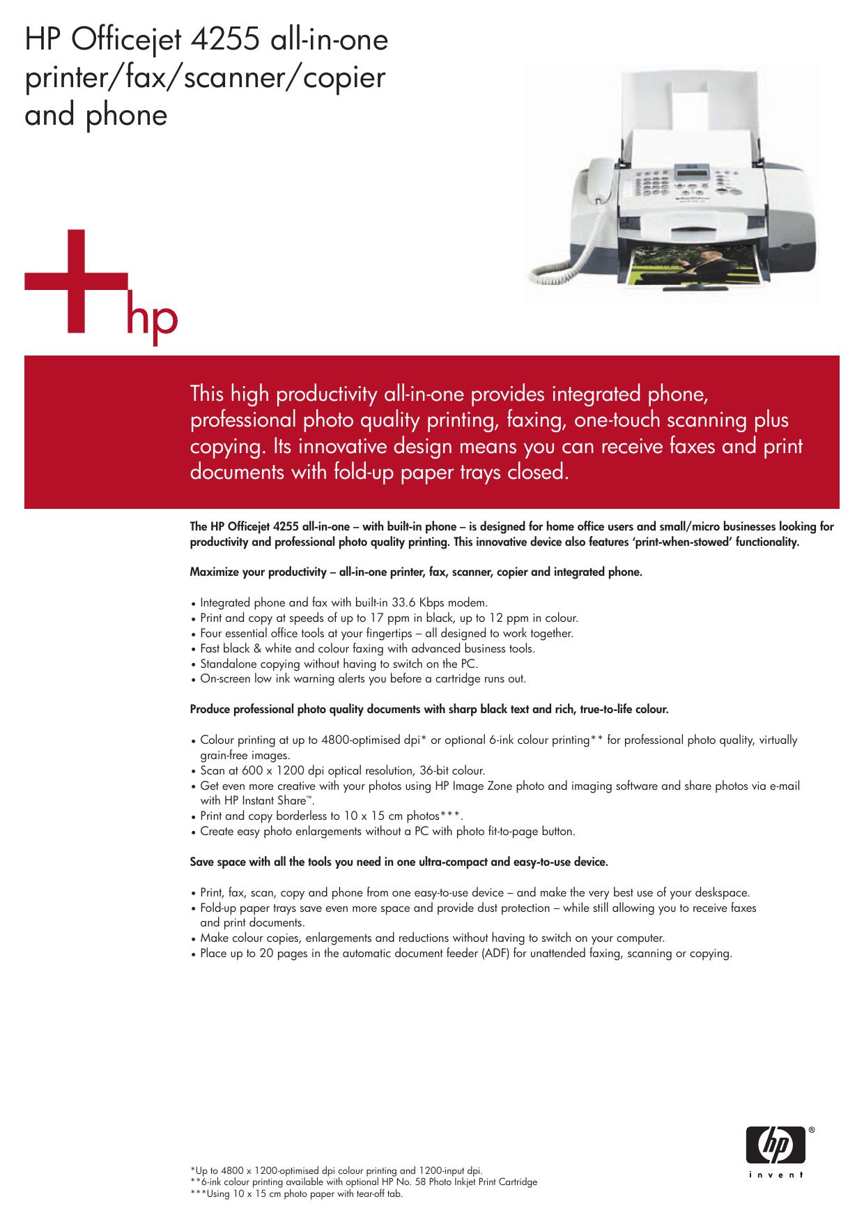 HP Officejet 4255 all-in-one printer/fax/scanner/copier   manualzz.com