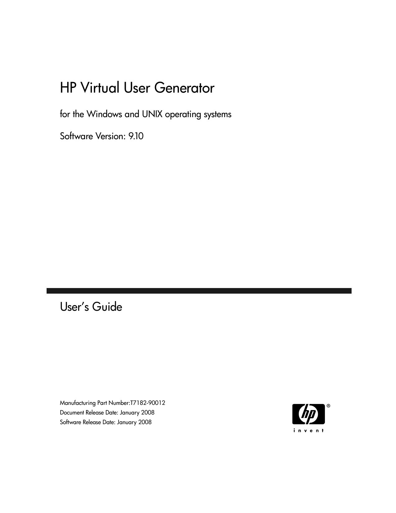 HP Virtual User Generator User`s Guide - Login | manualzz com