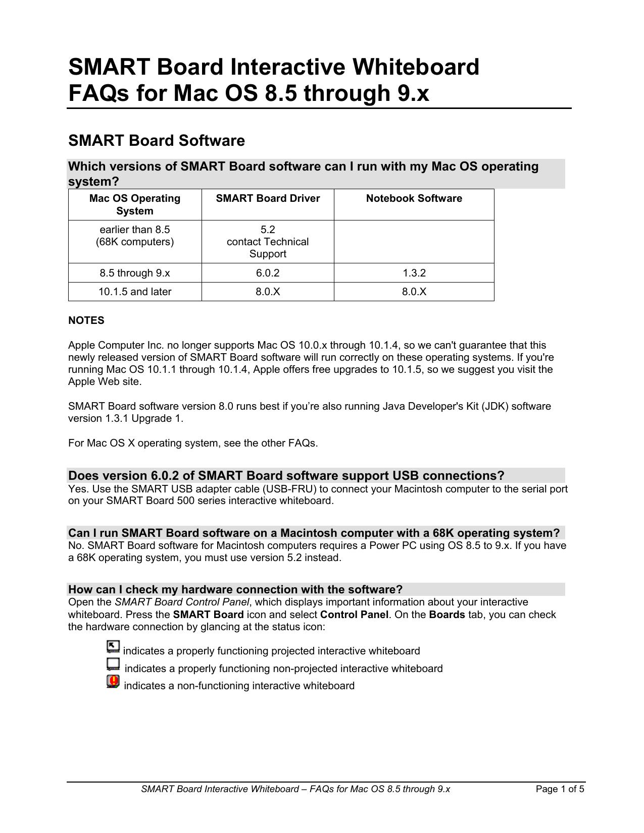 SMART Board for Mac OS 8 5 - 9 x FAQs   manualzz com