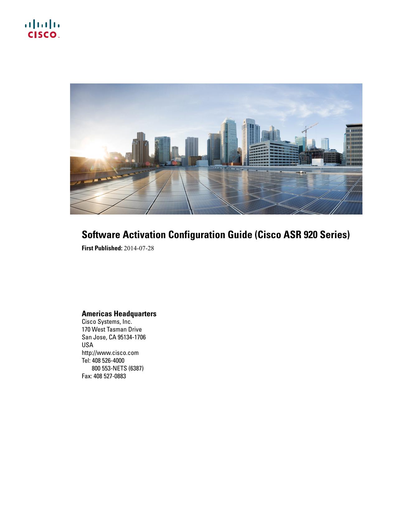 Software Activation Configuration Guide (Cisco ASR 920