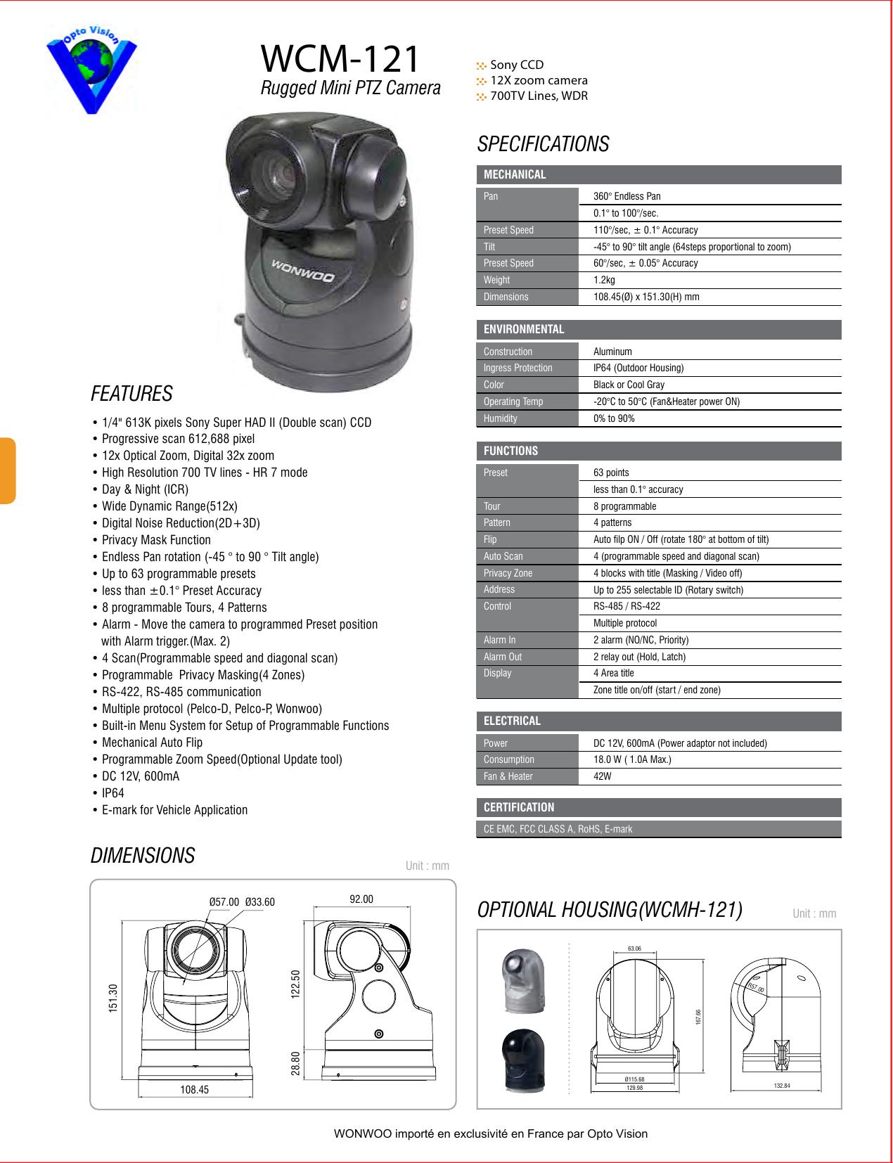 WCM-121 - Opto Vision | manualzz com