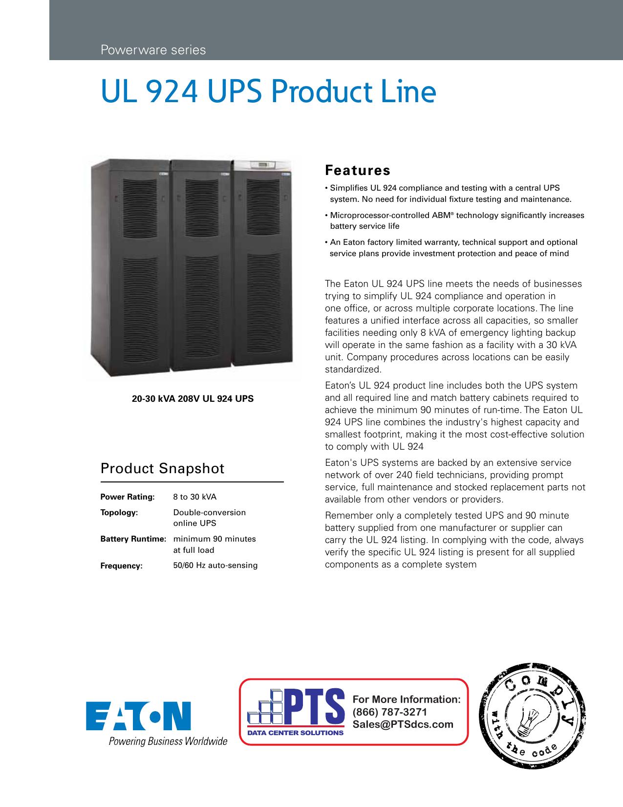 UL 924 UPS Product Line | manualzz com