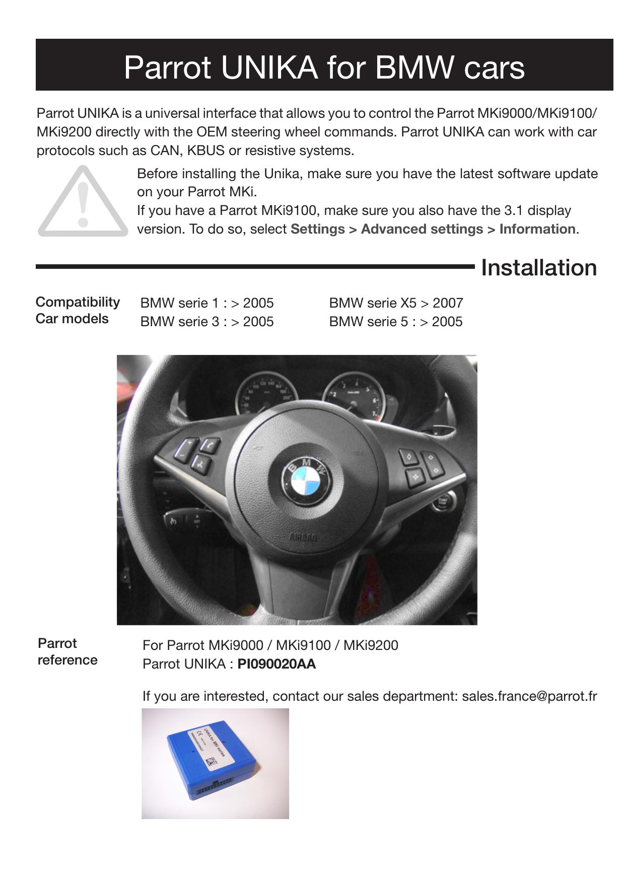 Parrot UNIKA for BMW cars | manualzz com