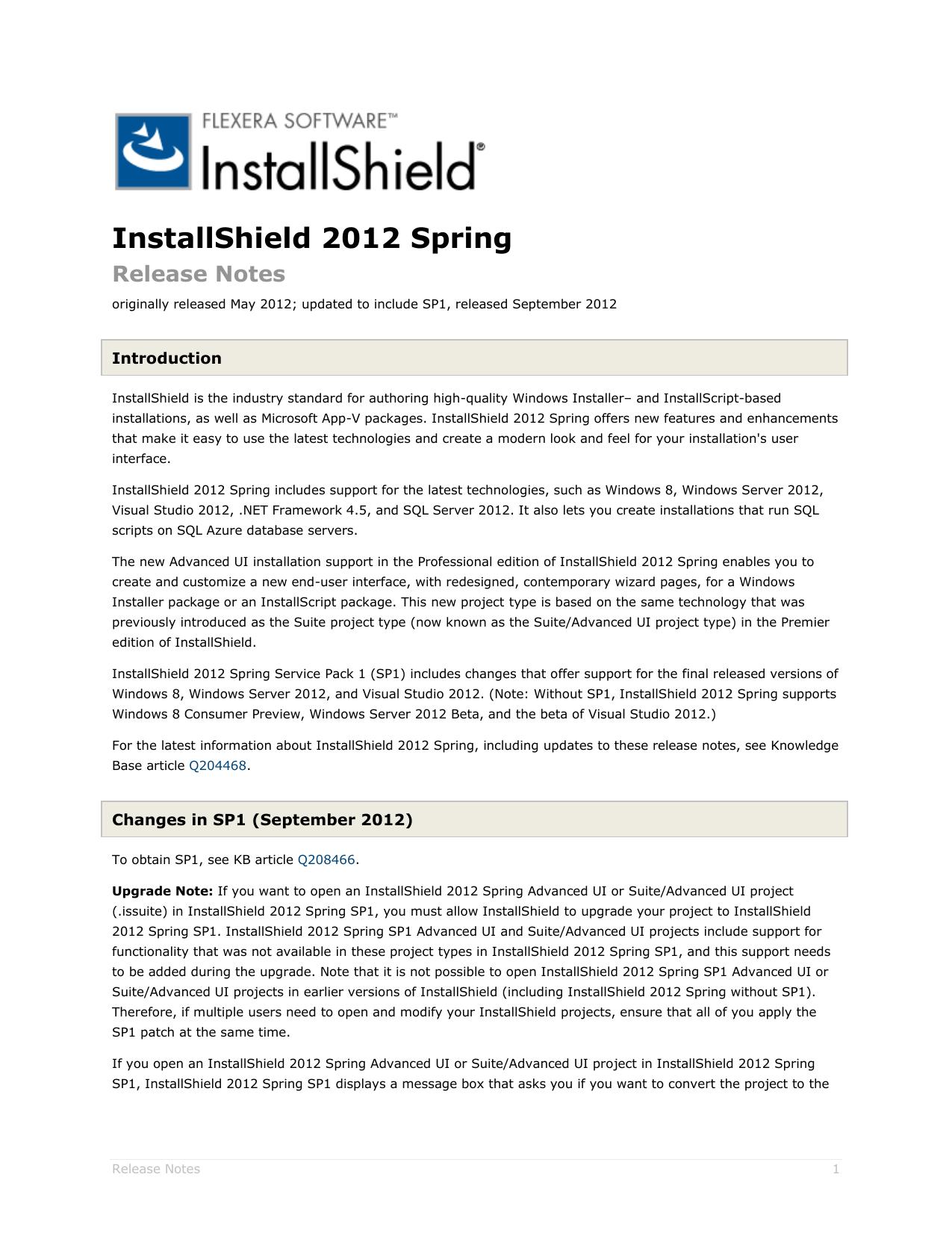 InstallShield 2012 Spring/InstallShield 2012 Spring SP1