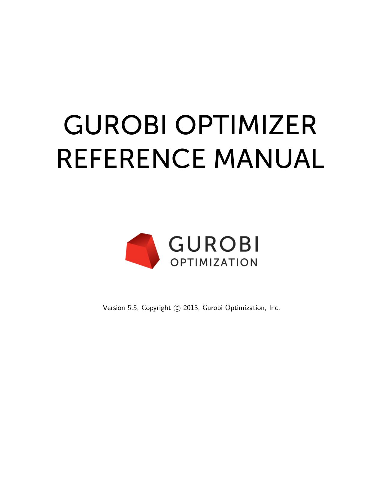 Gurobi Optimizer Reference Manual   manualzz com