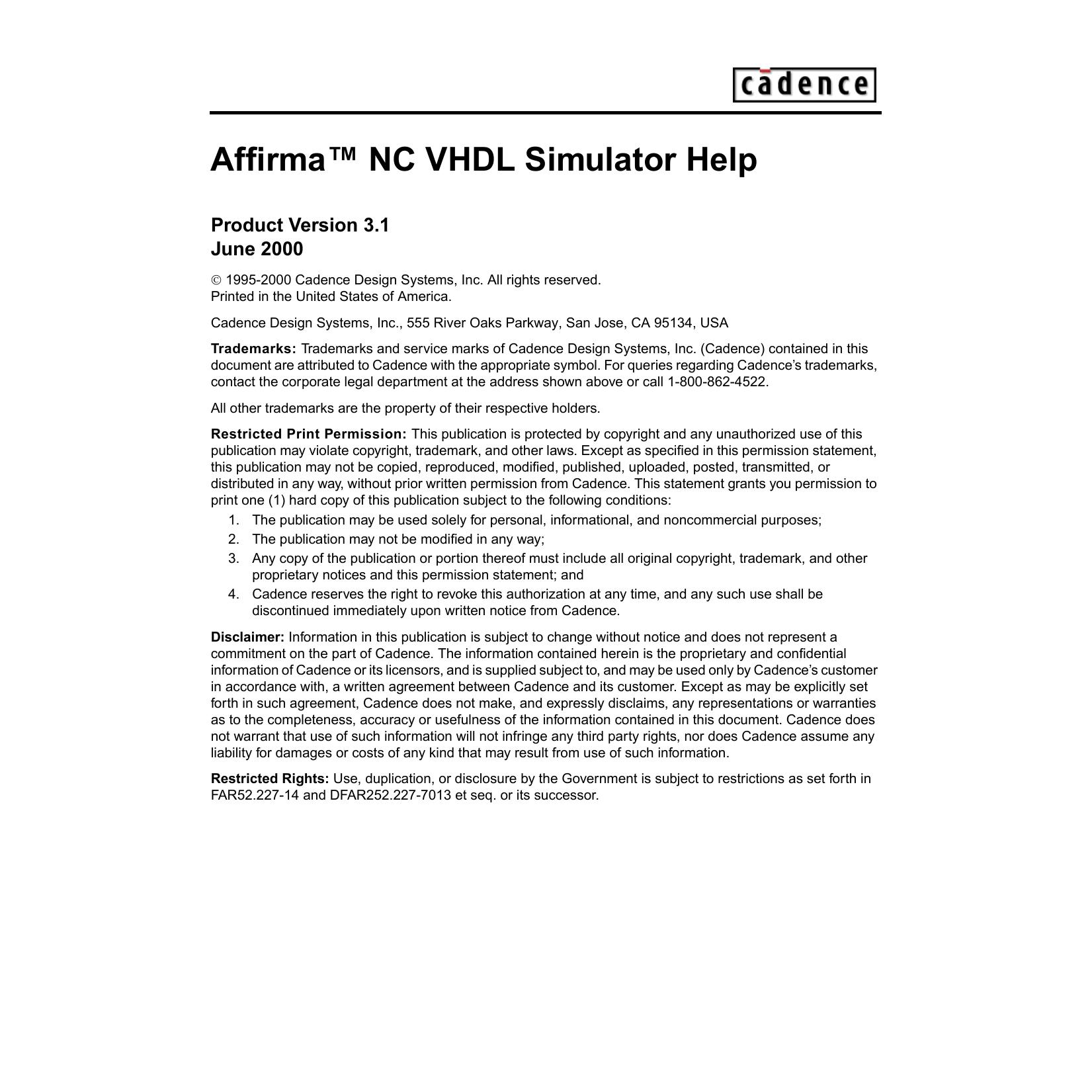 Affirma NC VHDL Simulator Help | manualzz com
