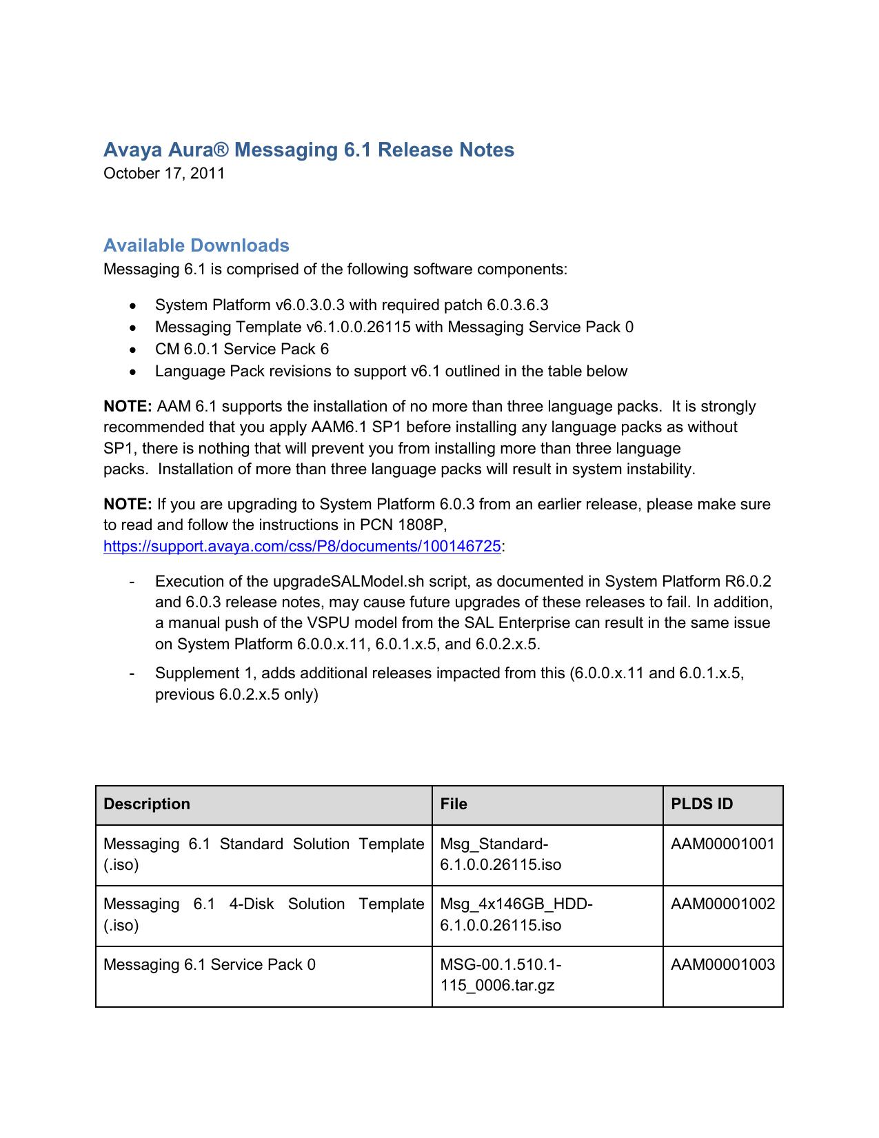 Avaya Aura® Messaging 6 1 Release Notes | manualzz com