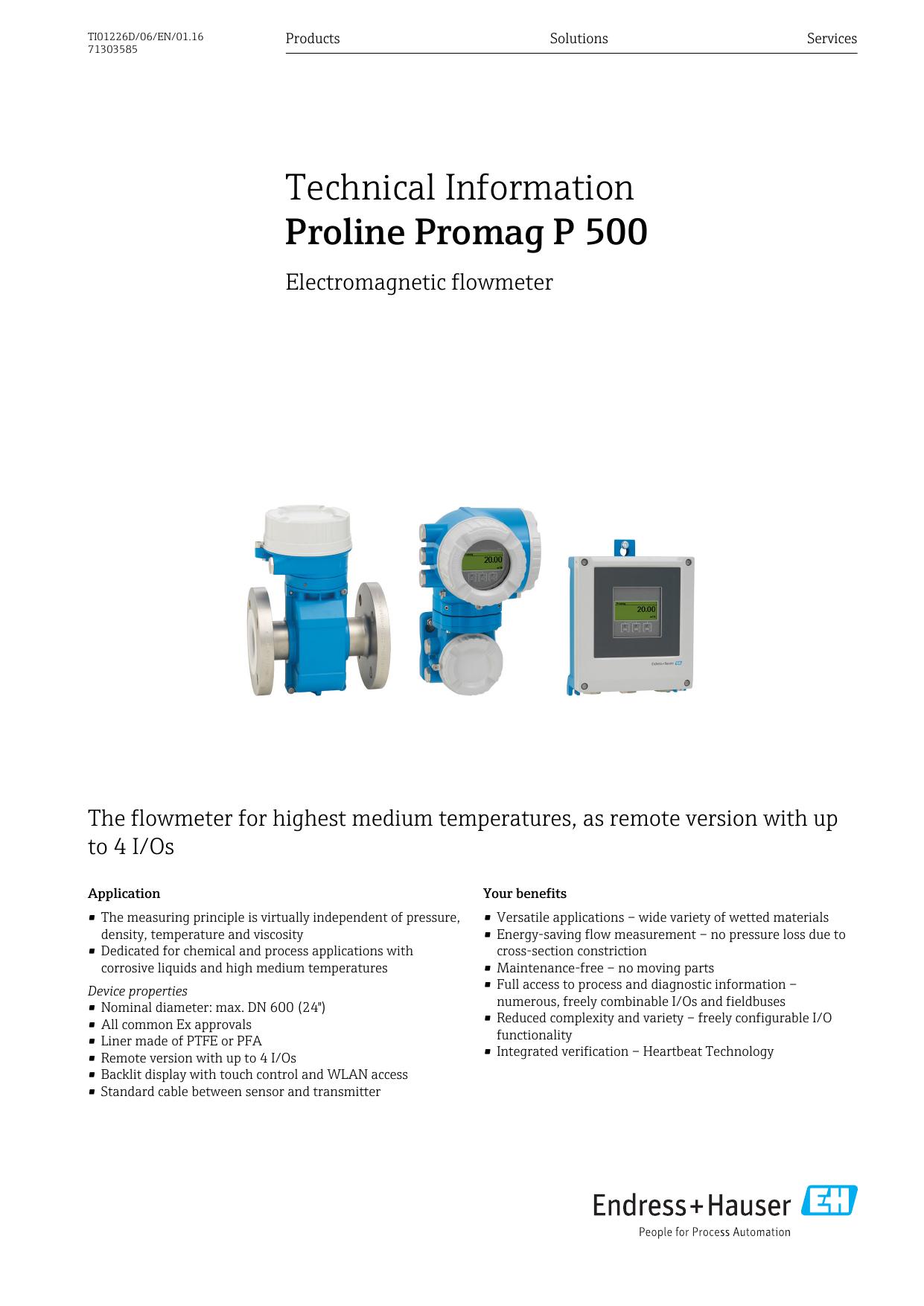 Proline Promag P 500 - Endress+Hauser Portal | manualzz com