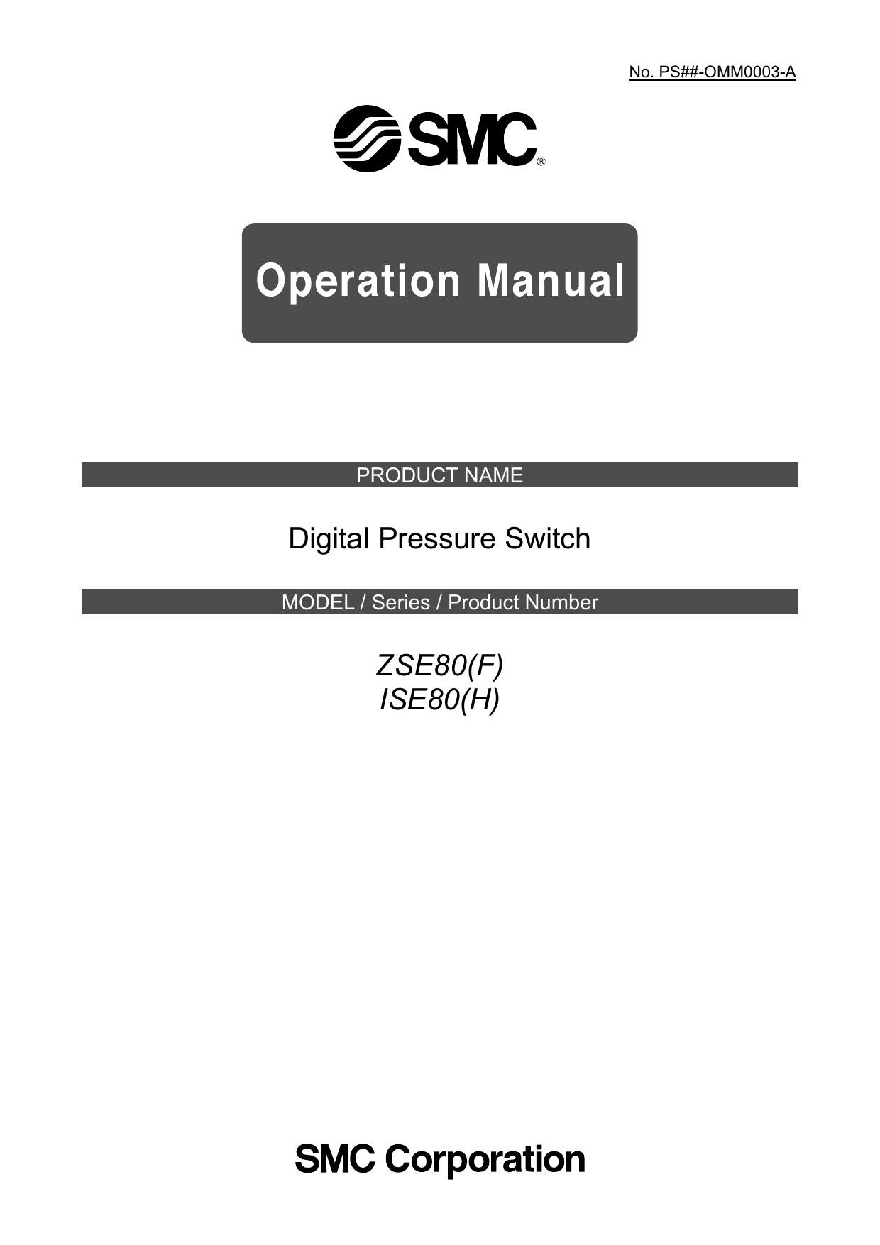 SMC ZSE80-02-P Digital Pressure Switch