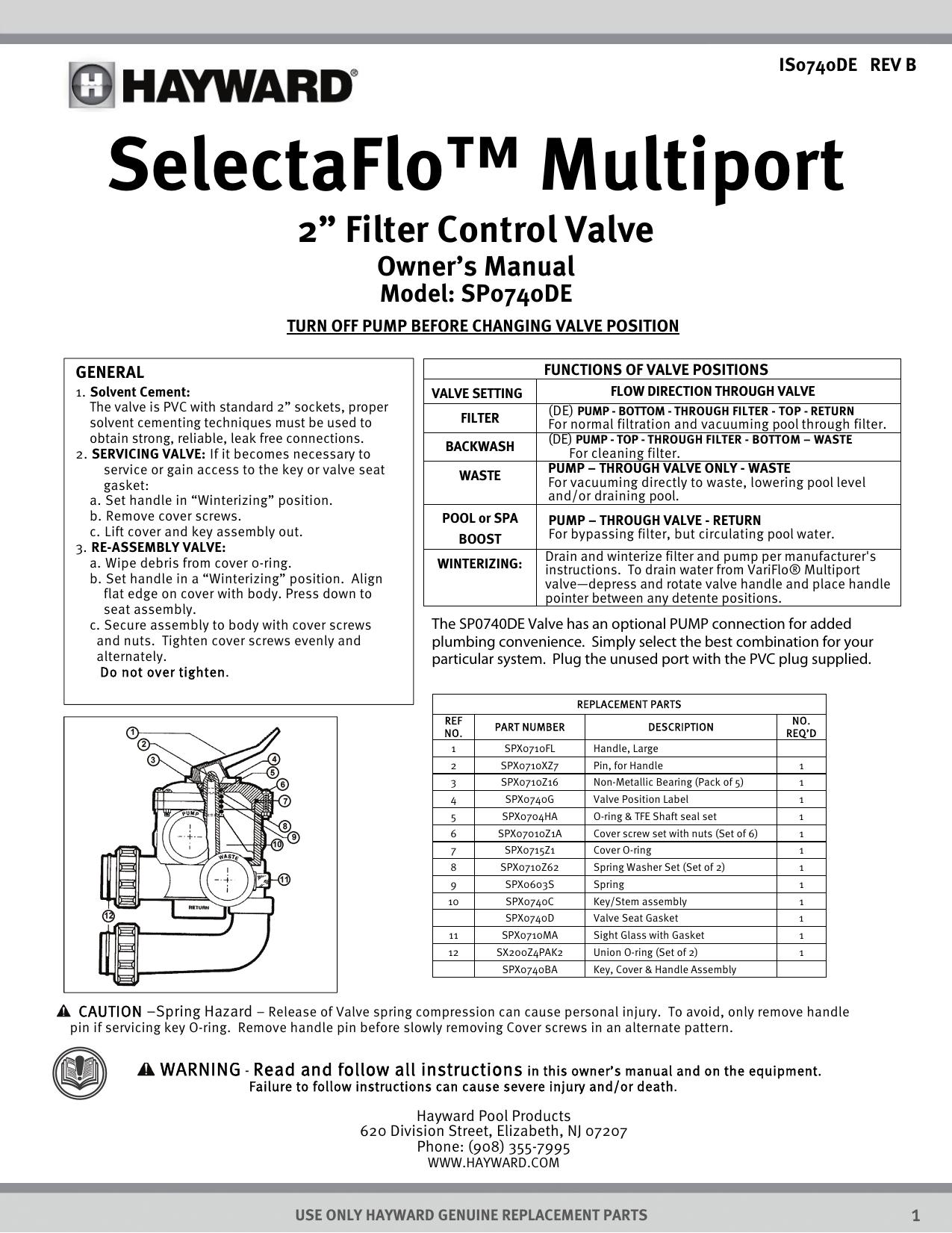 Sp0740de Hayward Pool Products Manualzz
