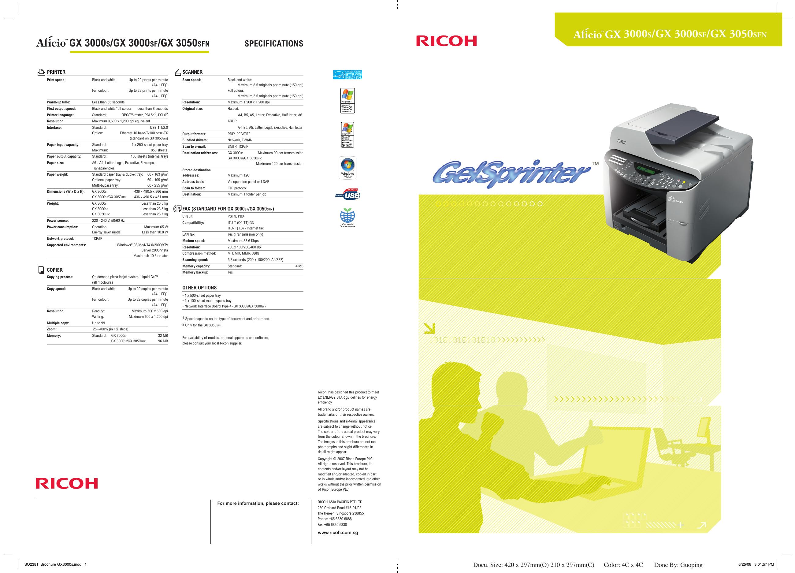 DRIVERS UPDATE: RICOH AFICIO GX 3050SFN RPCS RASTER