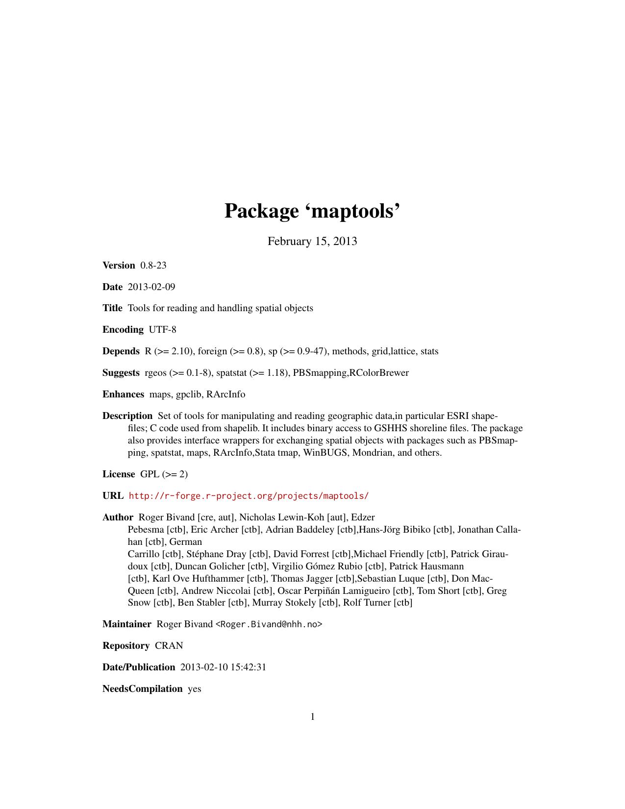Package `maptools` | manualzz com