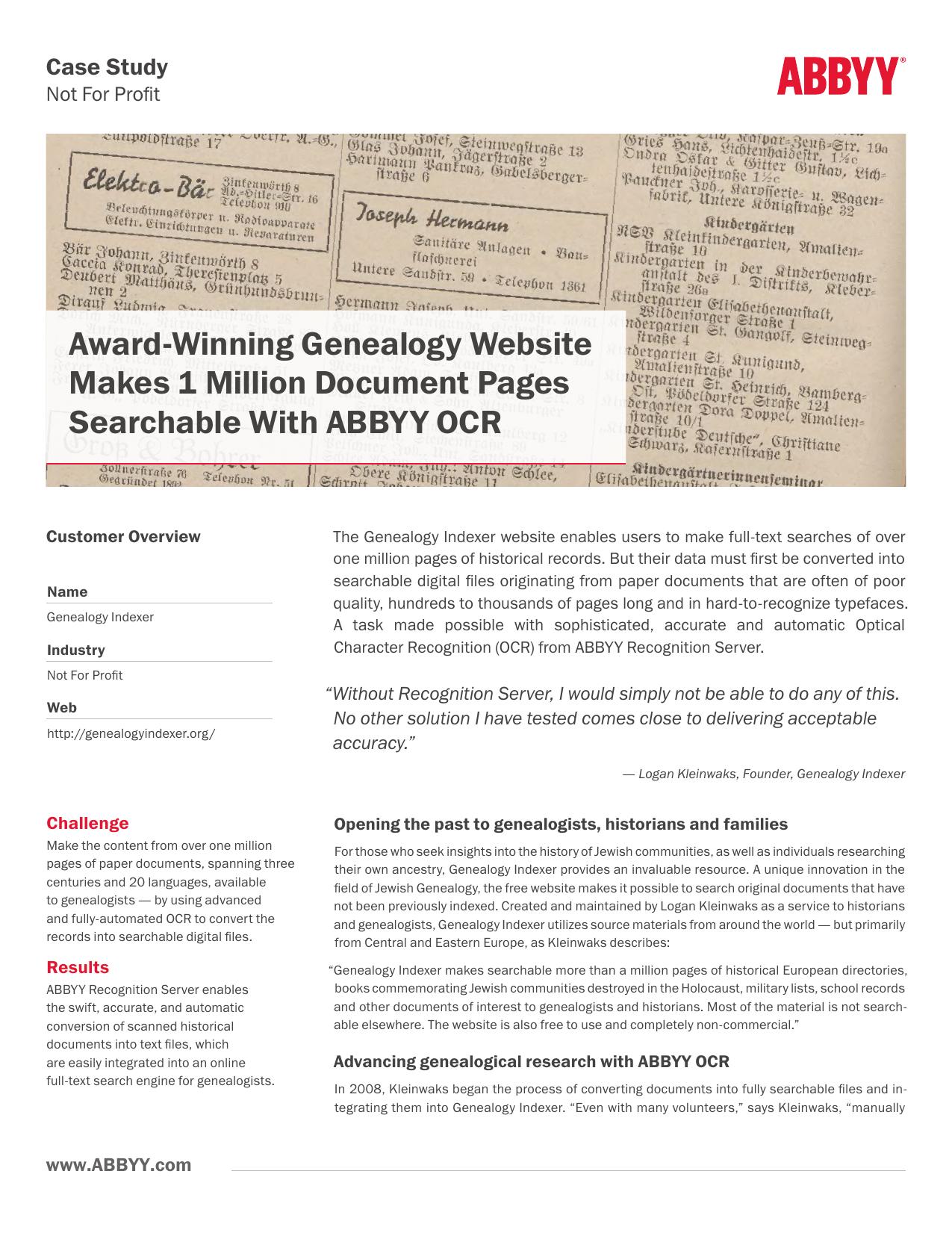 Award-Winning Genealogy Website Makes 1 Million | manualzz com