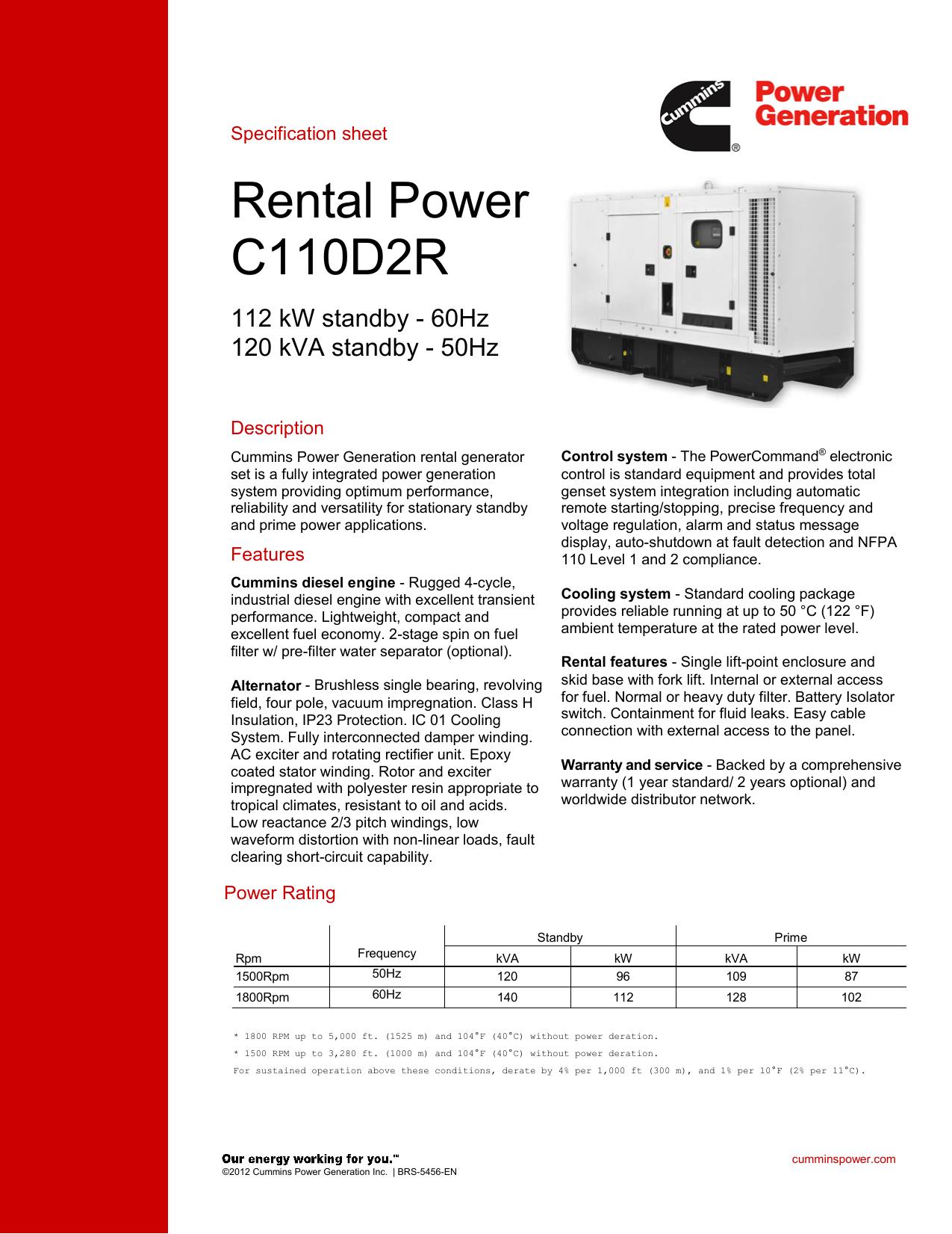 Rental Power C110D2R - Cummins Power Generation   manualzz com