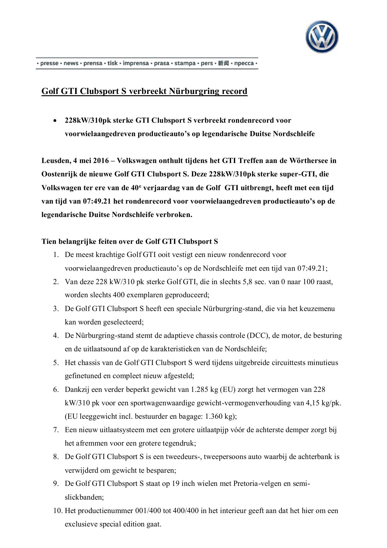 Golf Gti Clubsport S Verbreekt Nürburgring Record Manualzzcom