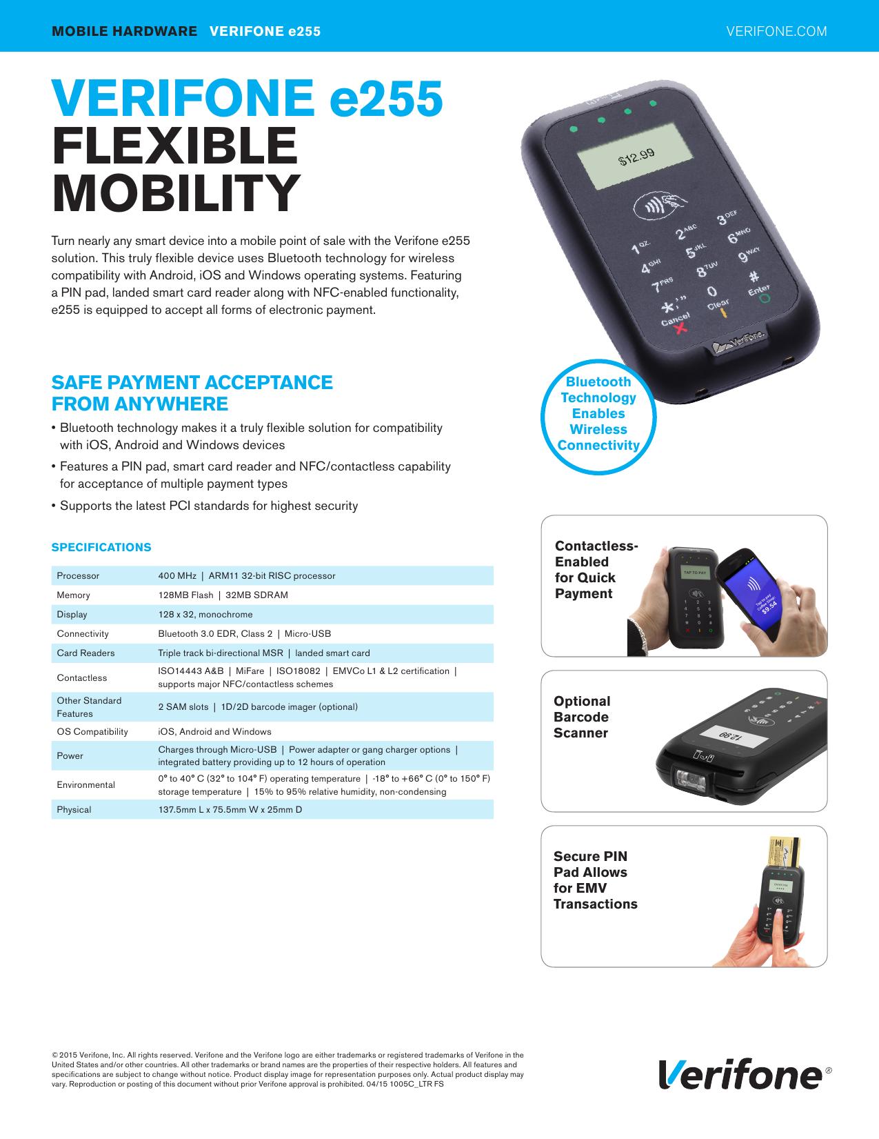 Verifone E255 Data Sheet Bluetooth Technology