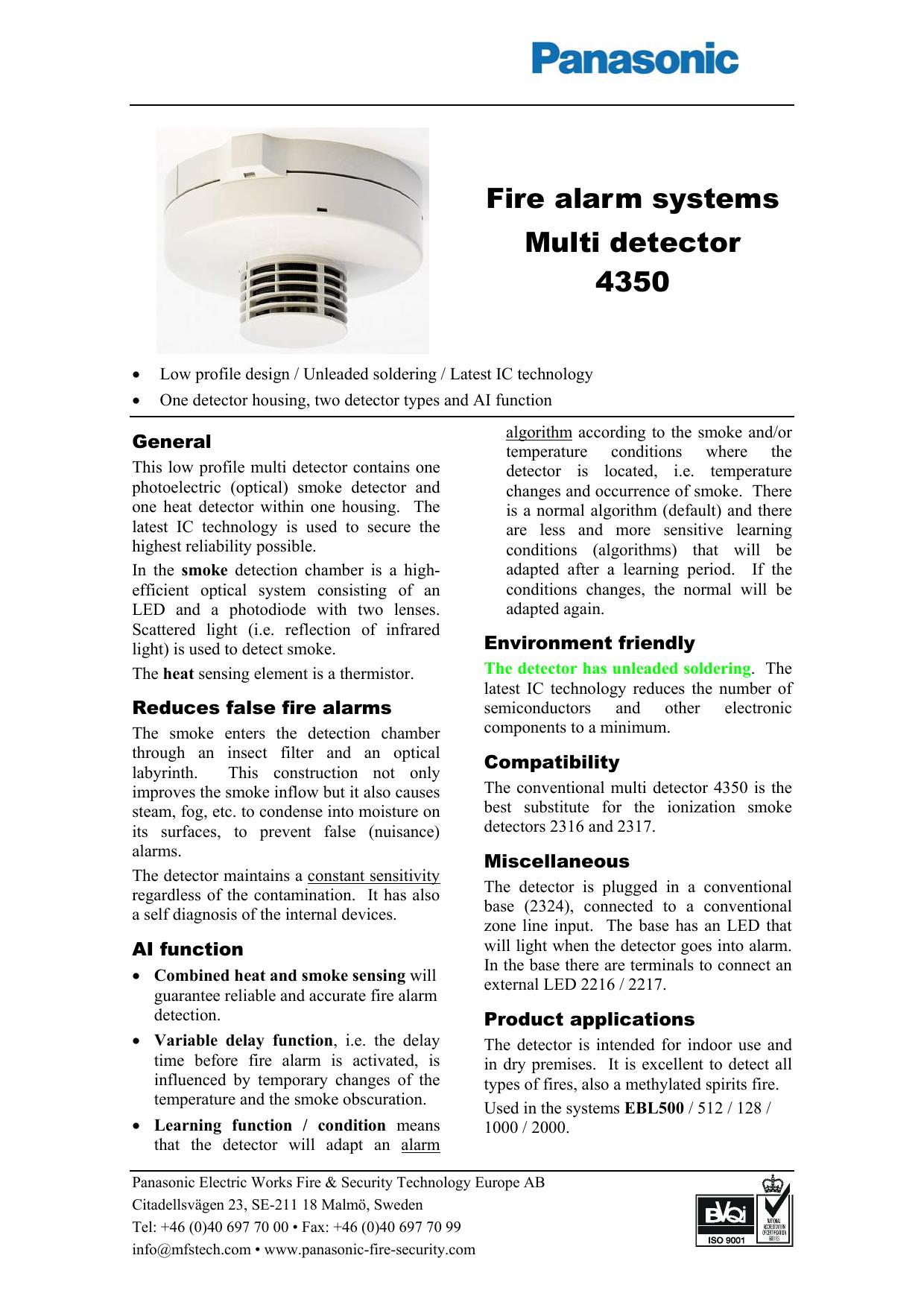 Fire Alarm Systems Multi Detector 4350 Manualzz