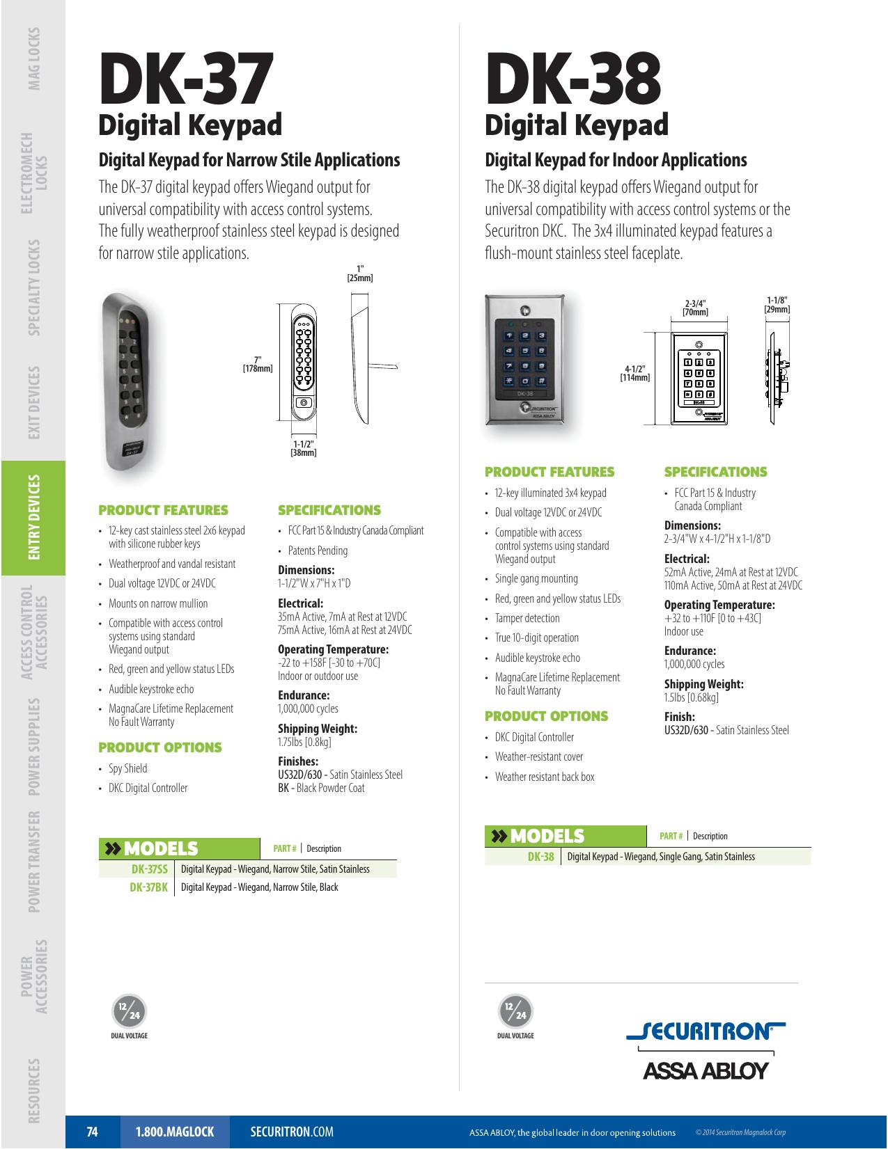 Securitron Stainless Steel Narrow Stile Digital Keypad System Satin Stainless Finish