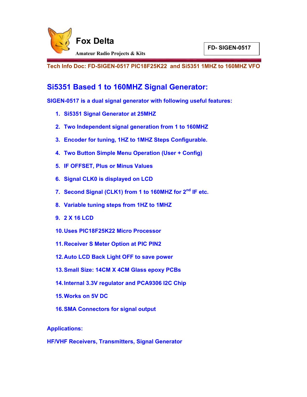 Foxdelta SIGEN-0517 Si5351 1 to 160MHZ VFO   manualzz com
