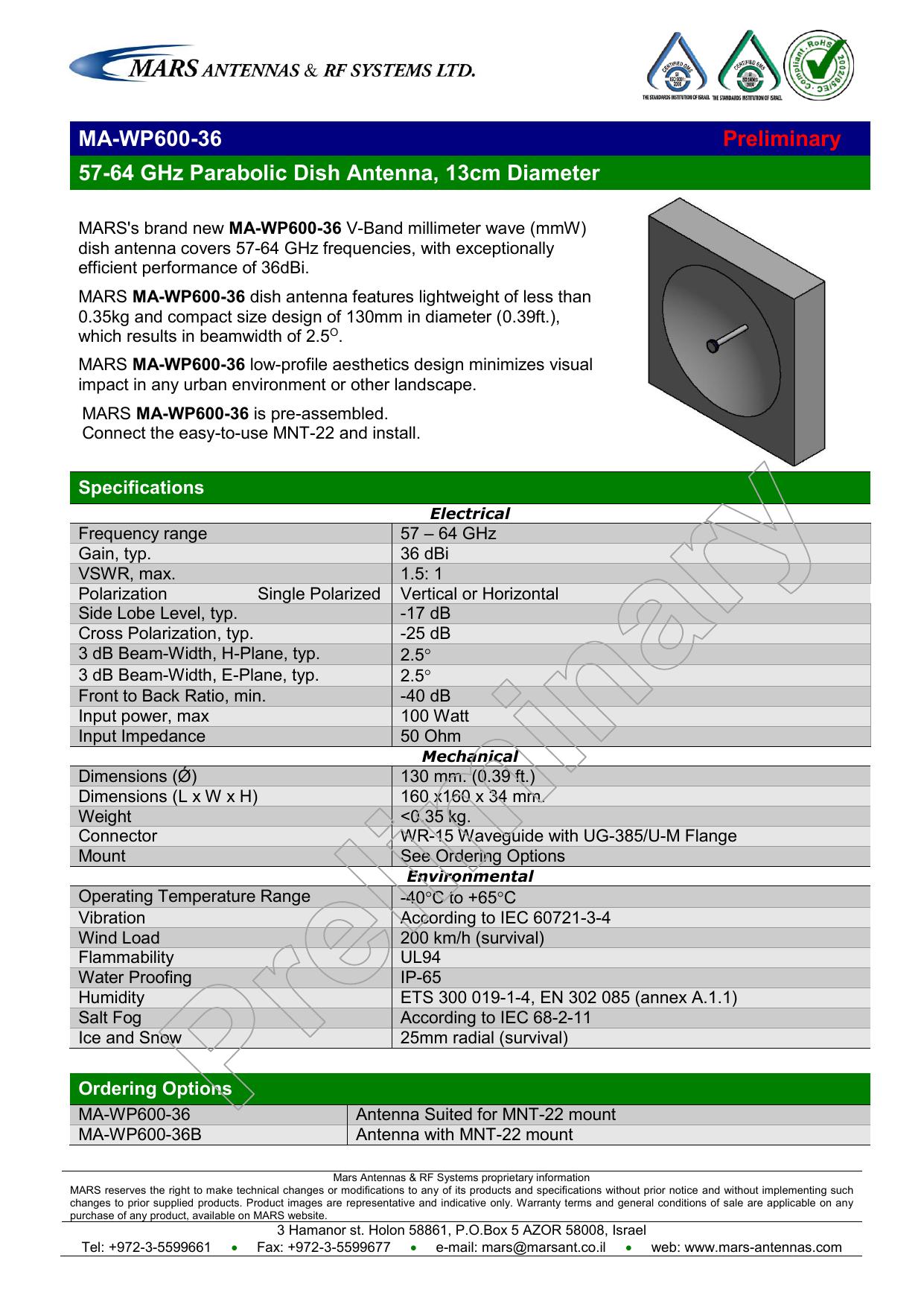 MA-WP600-36 Preliminary 57-64 GHz Parabolic | manualzz com