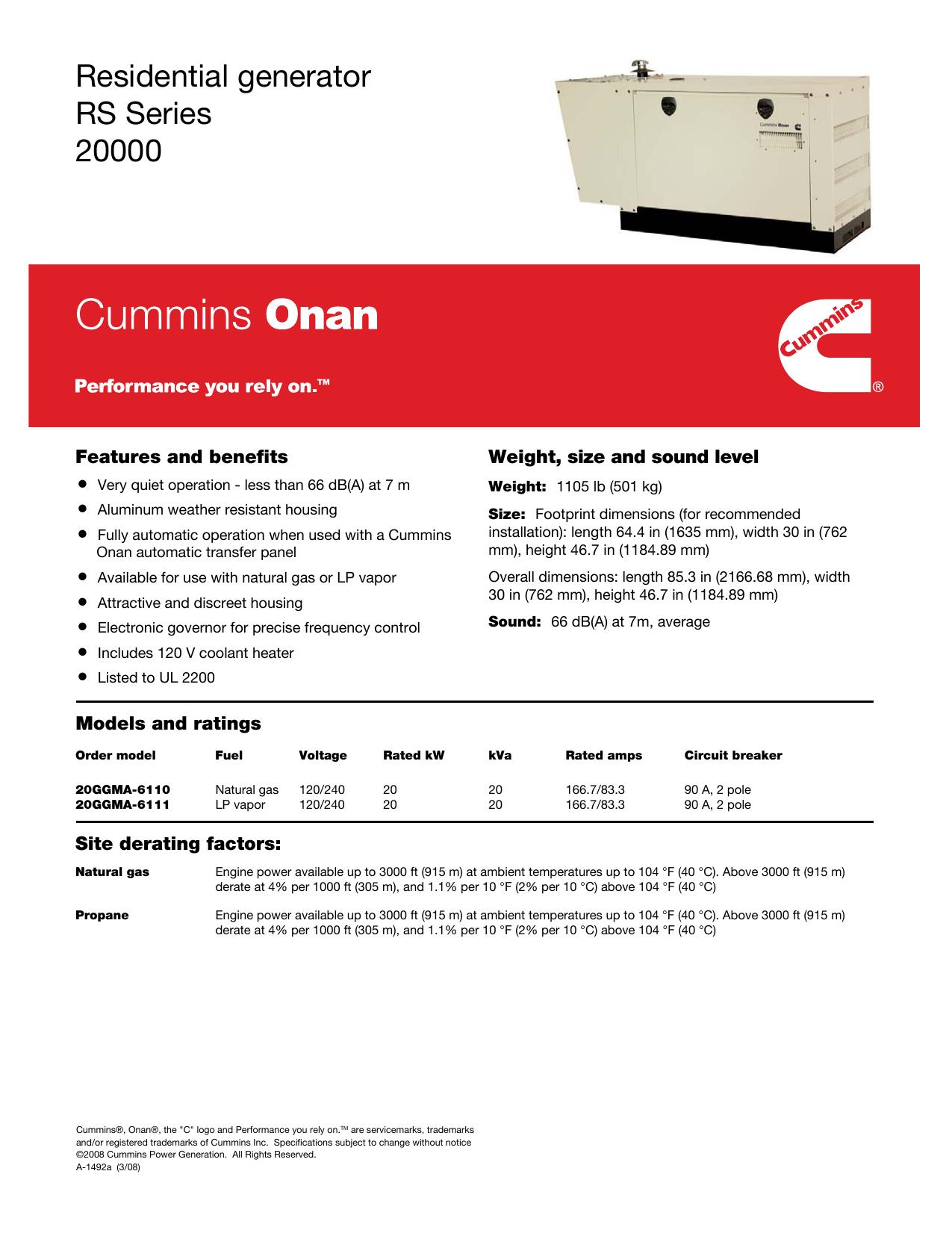 Residential Generator Rs Series 20000 Manualzz