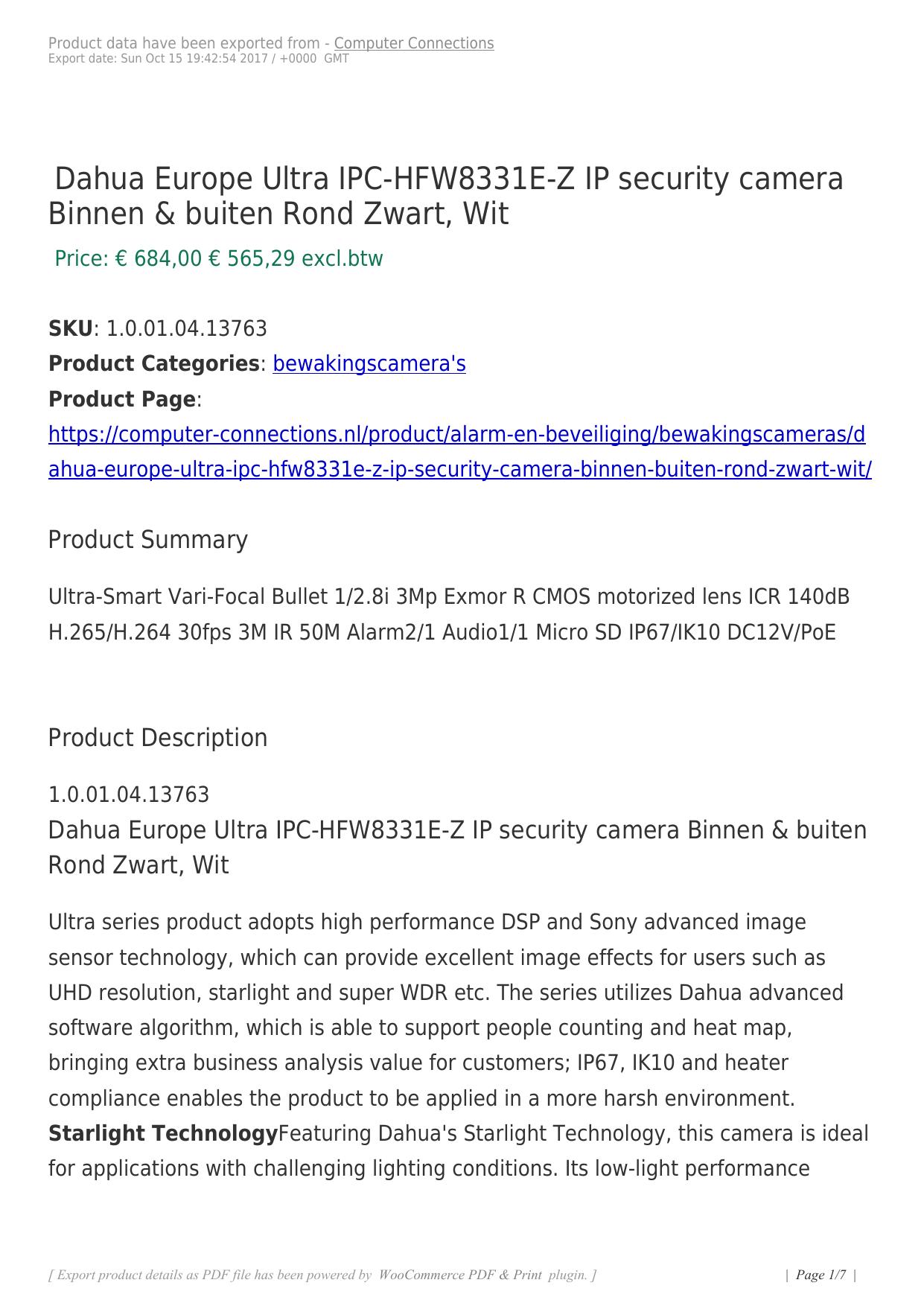 Dahua Europe Ultra IPC-HFW8331E-Z IP security camera Binnen