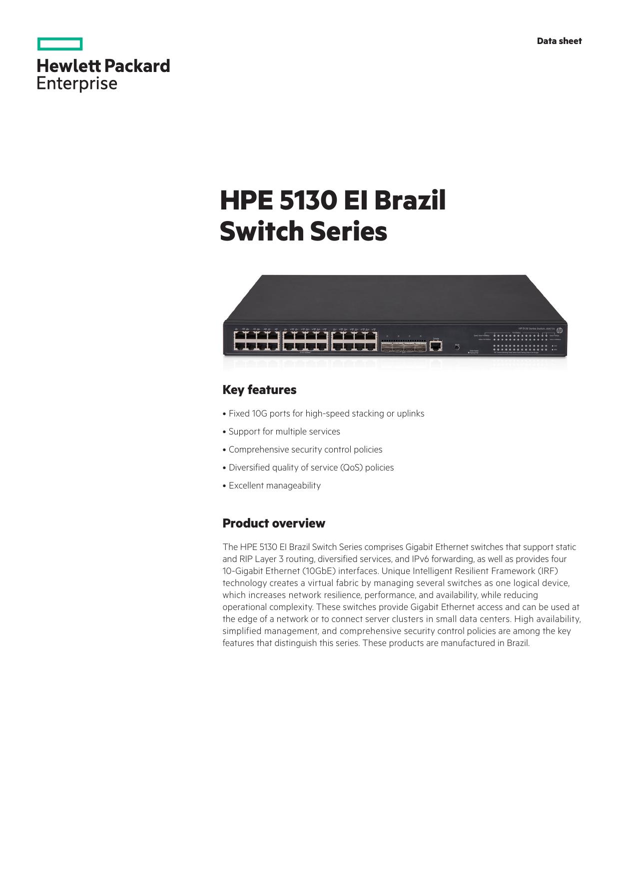 HPE 5130 EI Brazil Switch Series | manualzz com