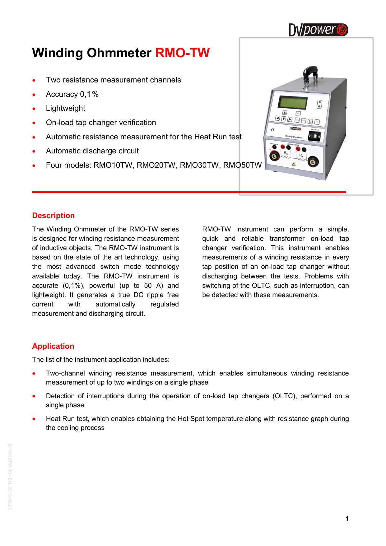 Winding Ohmmeter RMO-TW | manualzz com