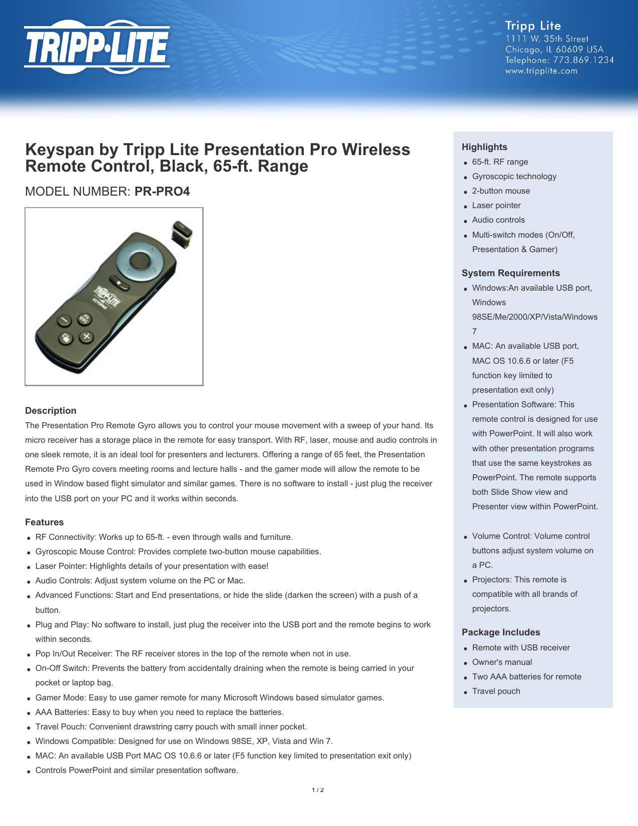 Keyspan by Tripp Lite Presentation Pro Wireless Remote Control