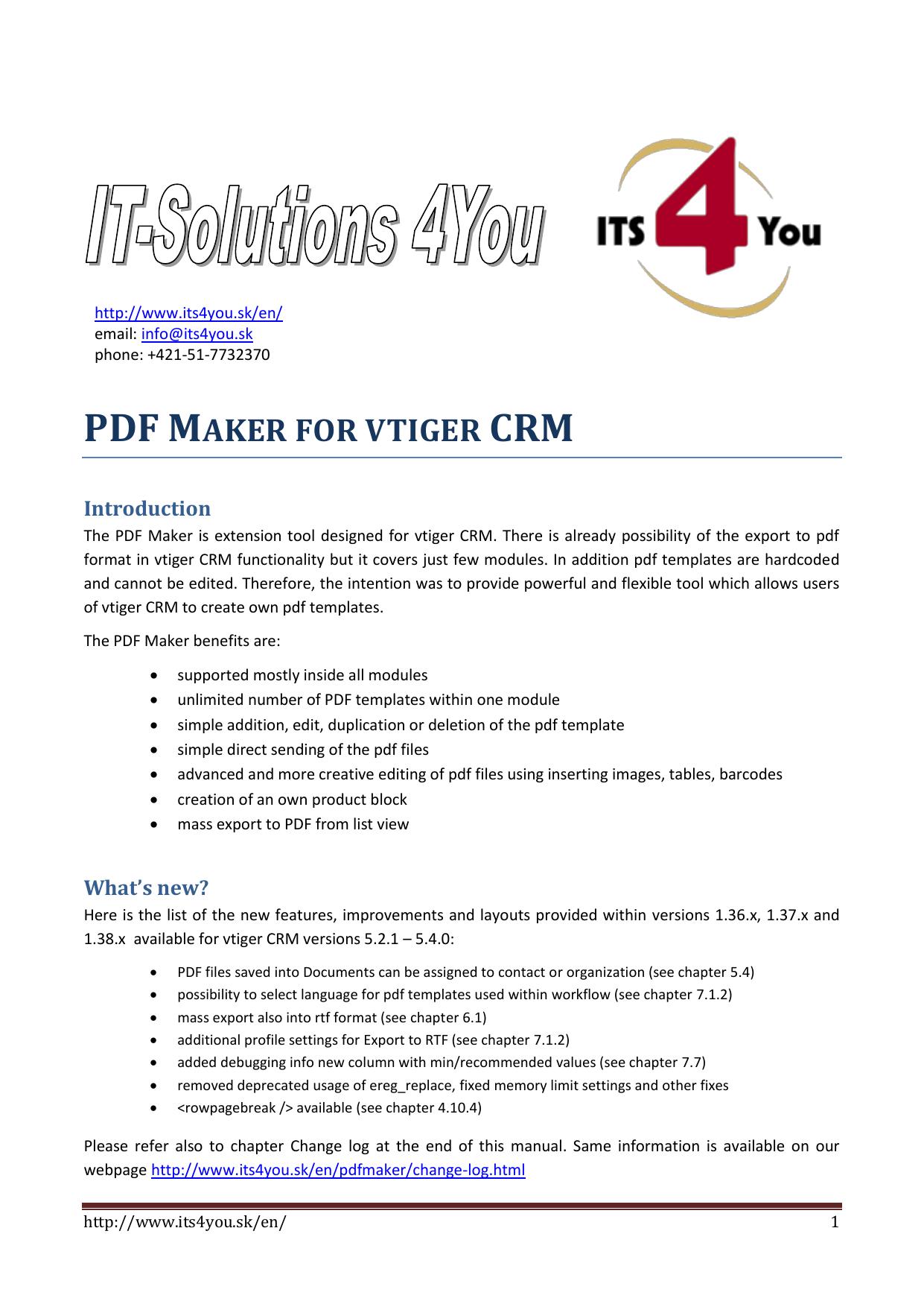 PDF MAKER FOR VTIGER CRM | manualzz com