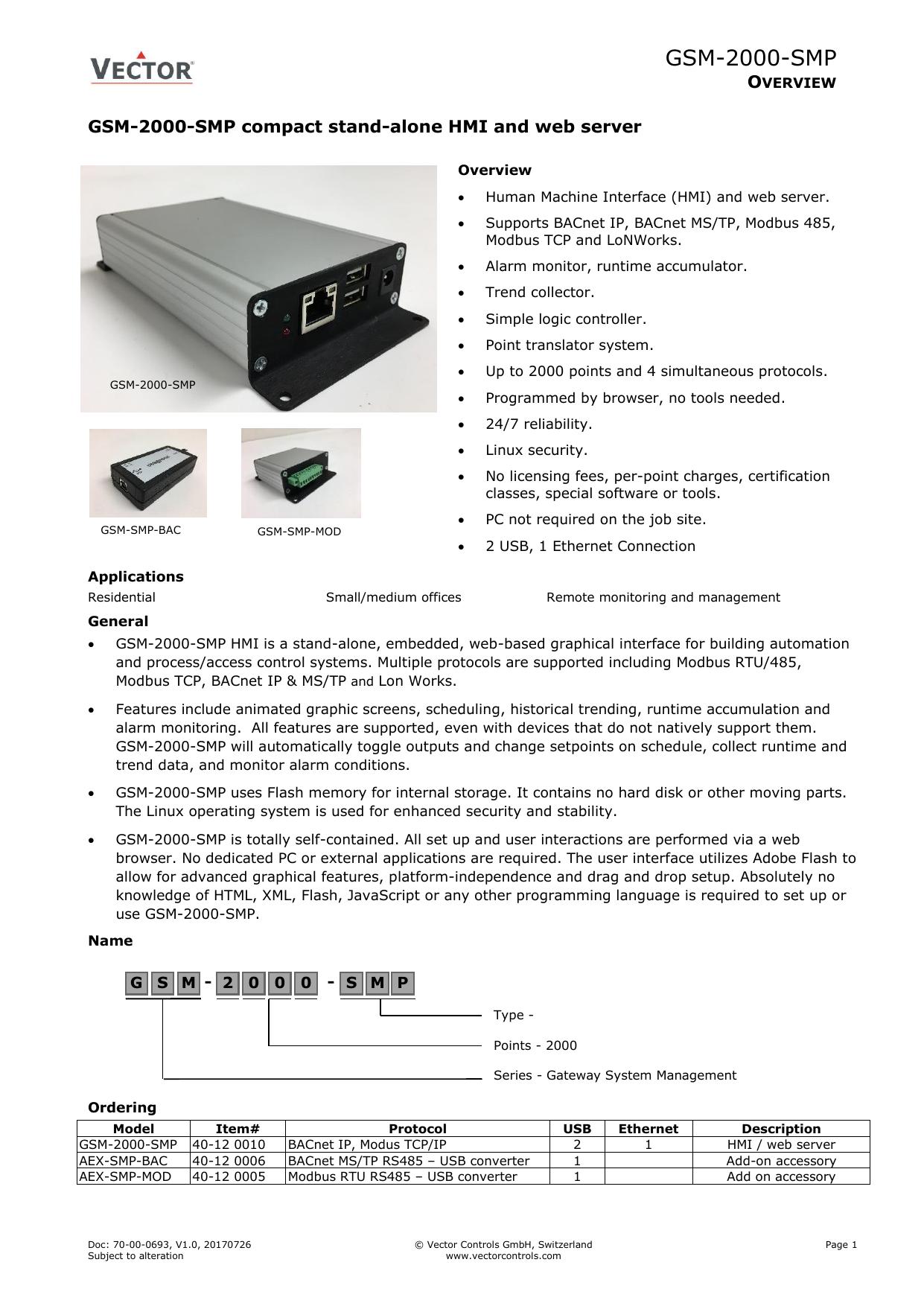 GSM-2000-SMP - Vector Controls | manualzz com