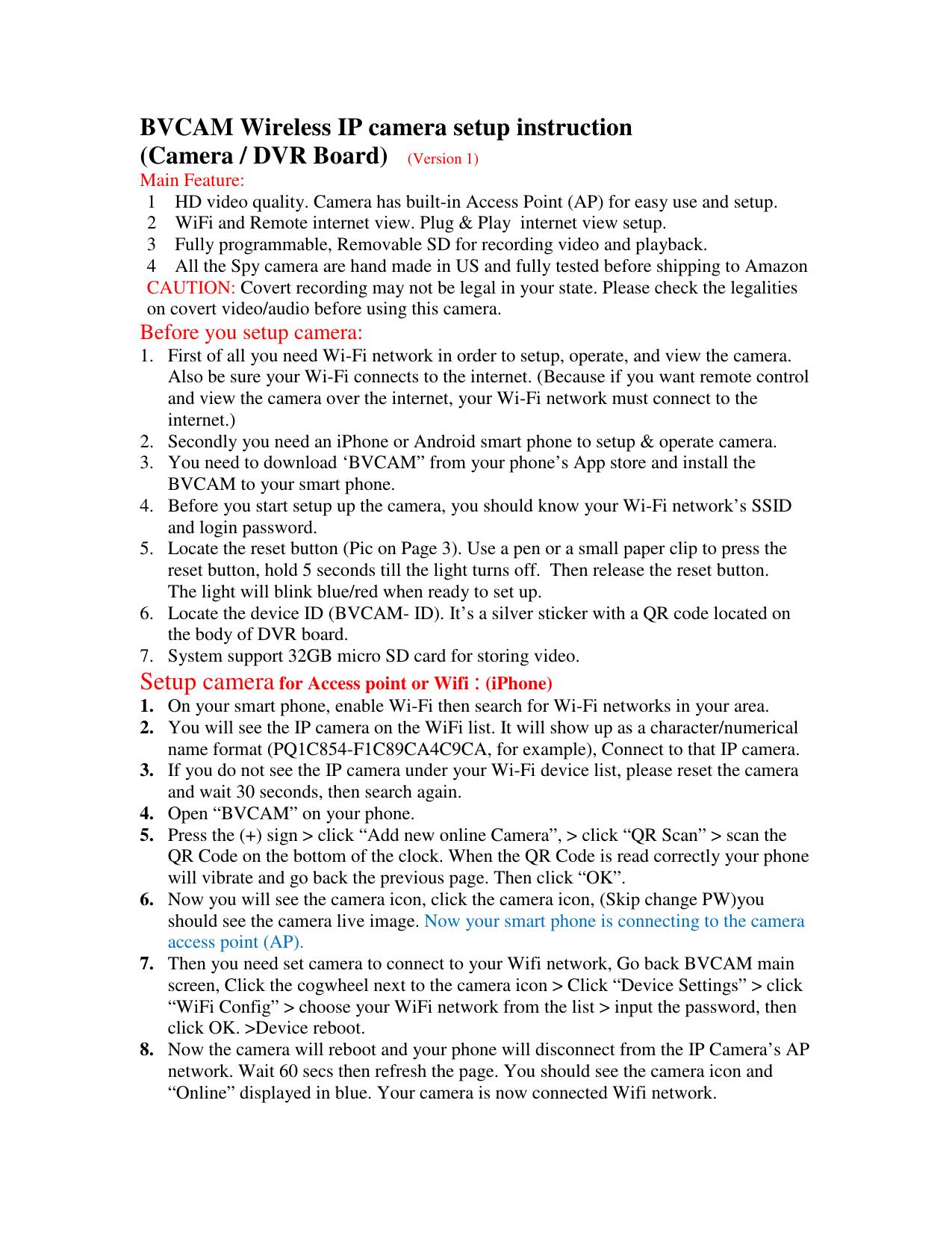 BVCAM Wireless IP camera setup instruction (Camera / DVR Board