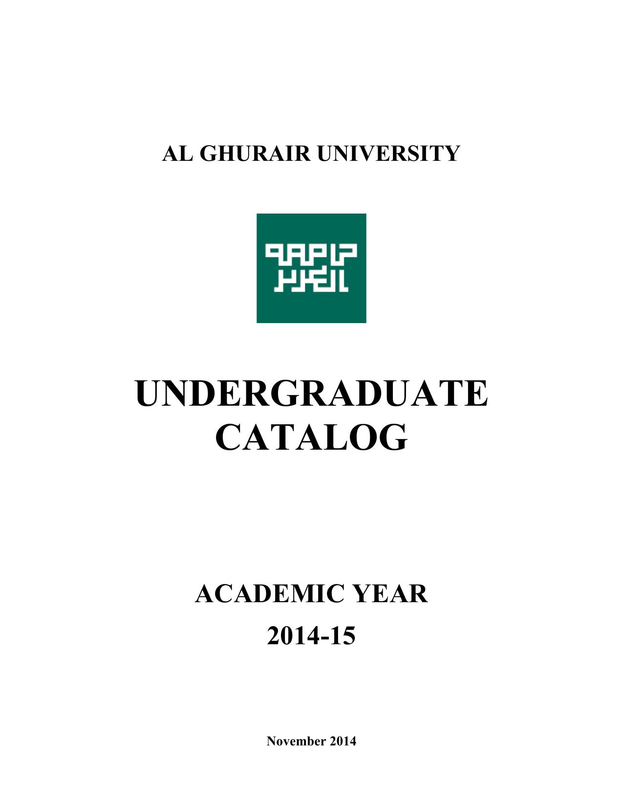 undergraduate catalog - Al Ghurair University | manualzz com