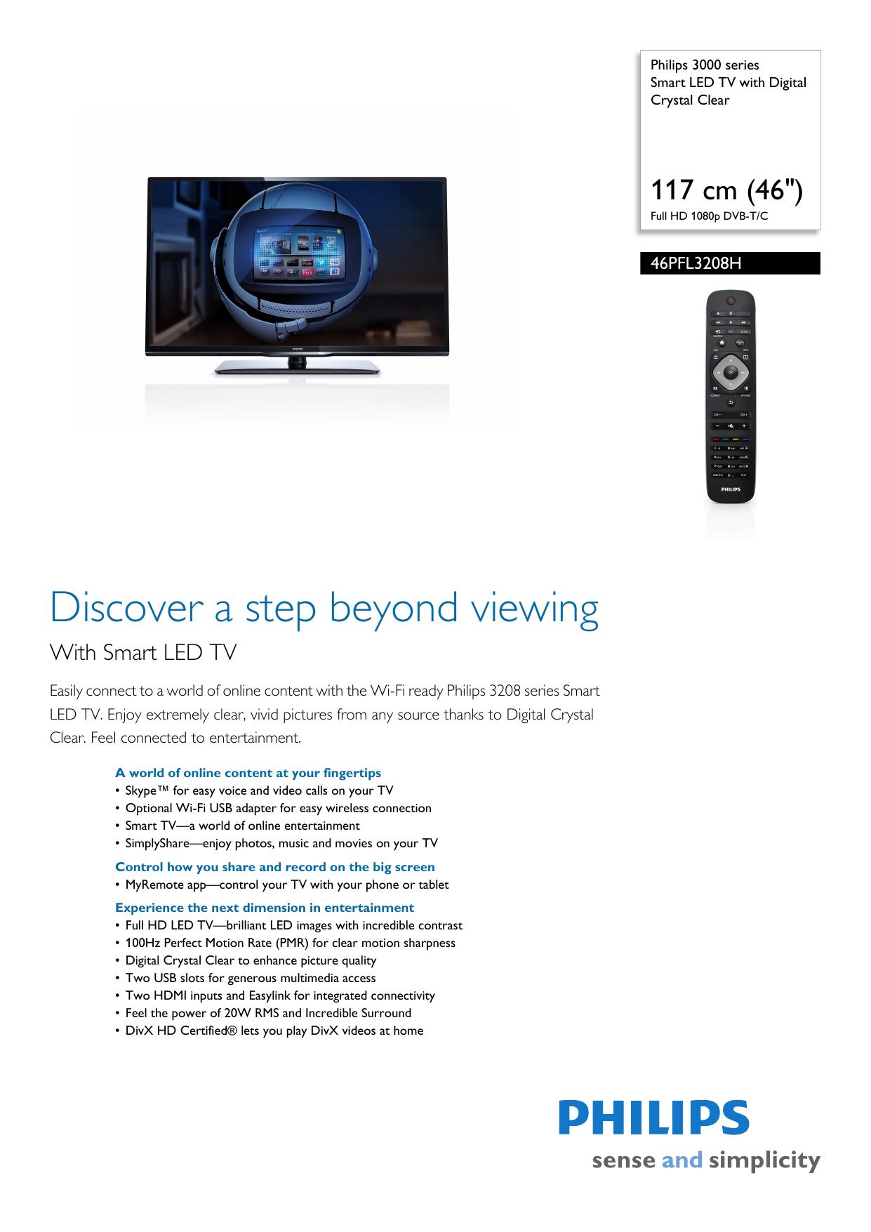 46PFL3208H/12 Philips Smart LED TV with Digital Crystal