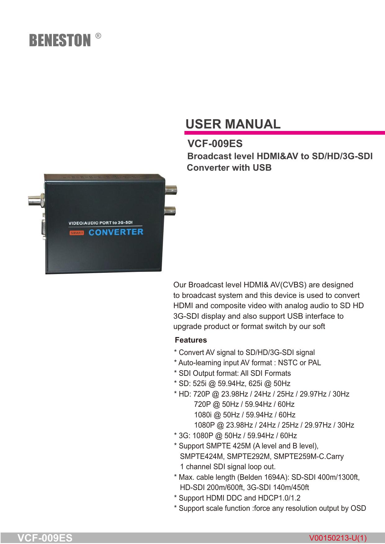 BENESTON SD//HD//3G-SDI 1 to 4 ports Distribution Amplifier Splitter//Broadcast