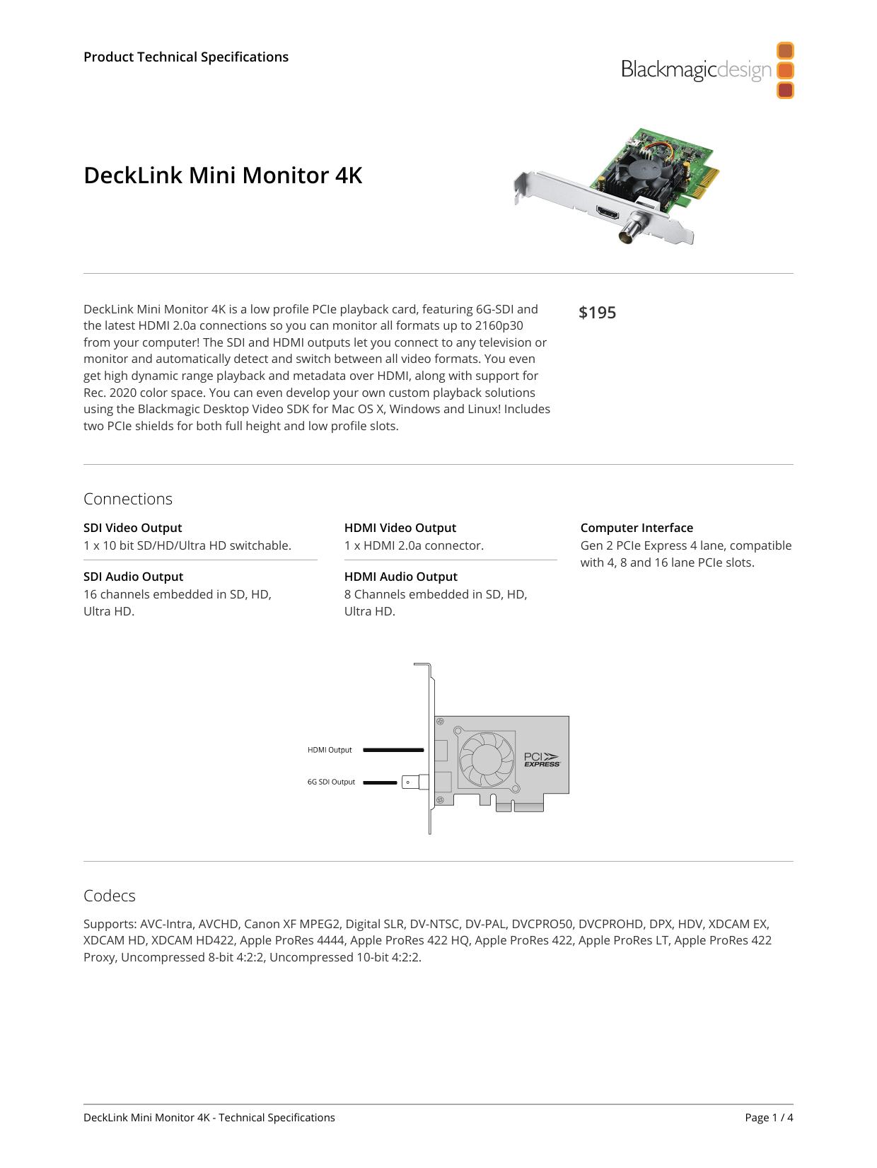 Blackmagic Design Decklink Tech Specs Manualzz