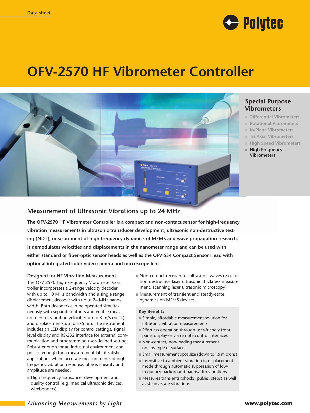 OFV-2570 HF Vibrometer Controller | manualzz com