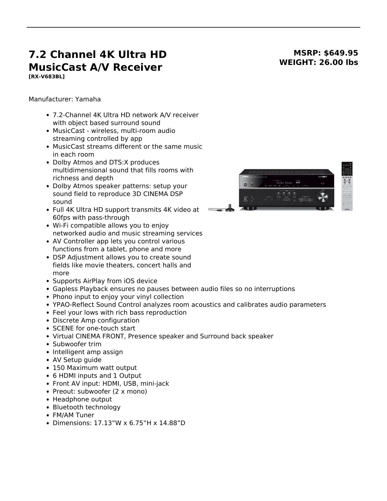 7 2 Channel 4K Ultra HD MusicCast A/V Receiver | manualzz com