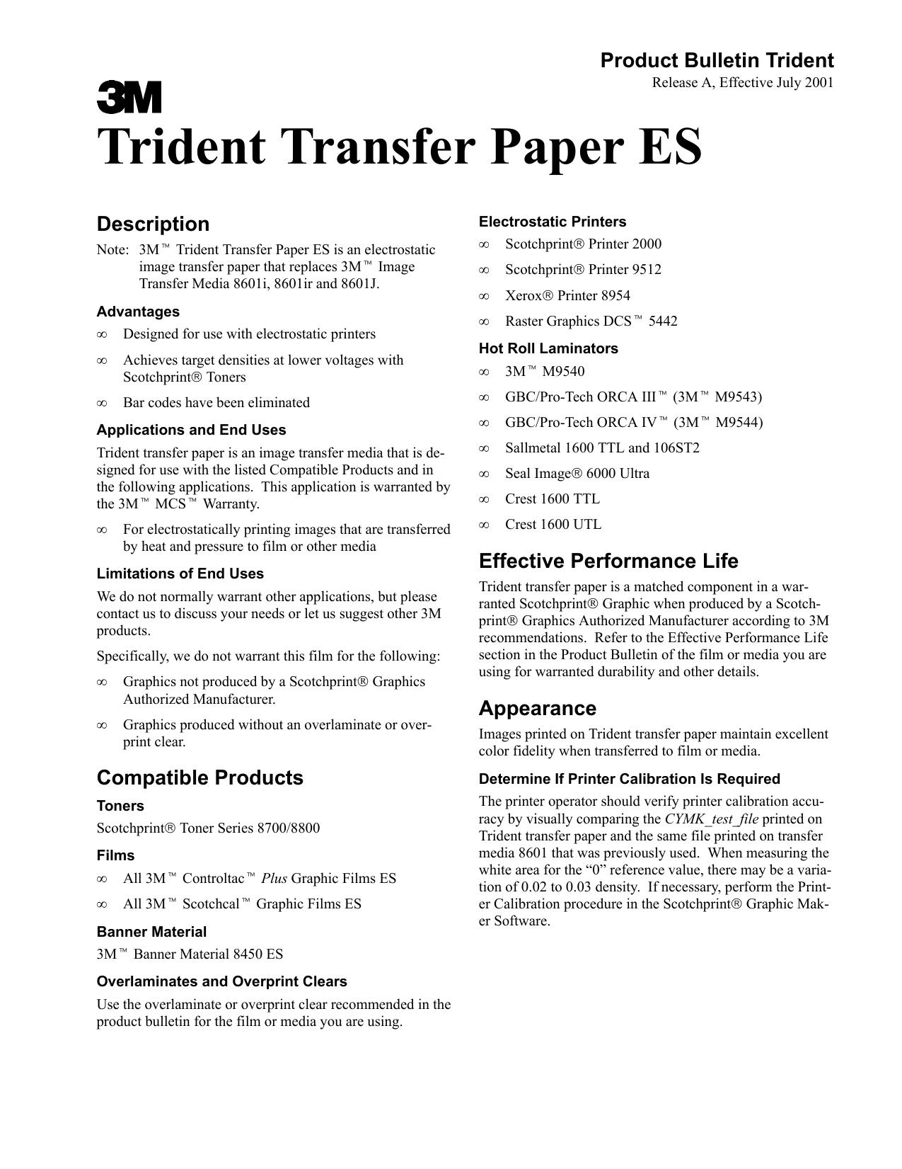 Trident Transfer Paper ES | manualzz com