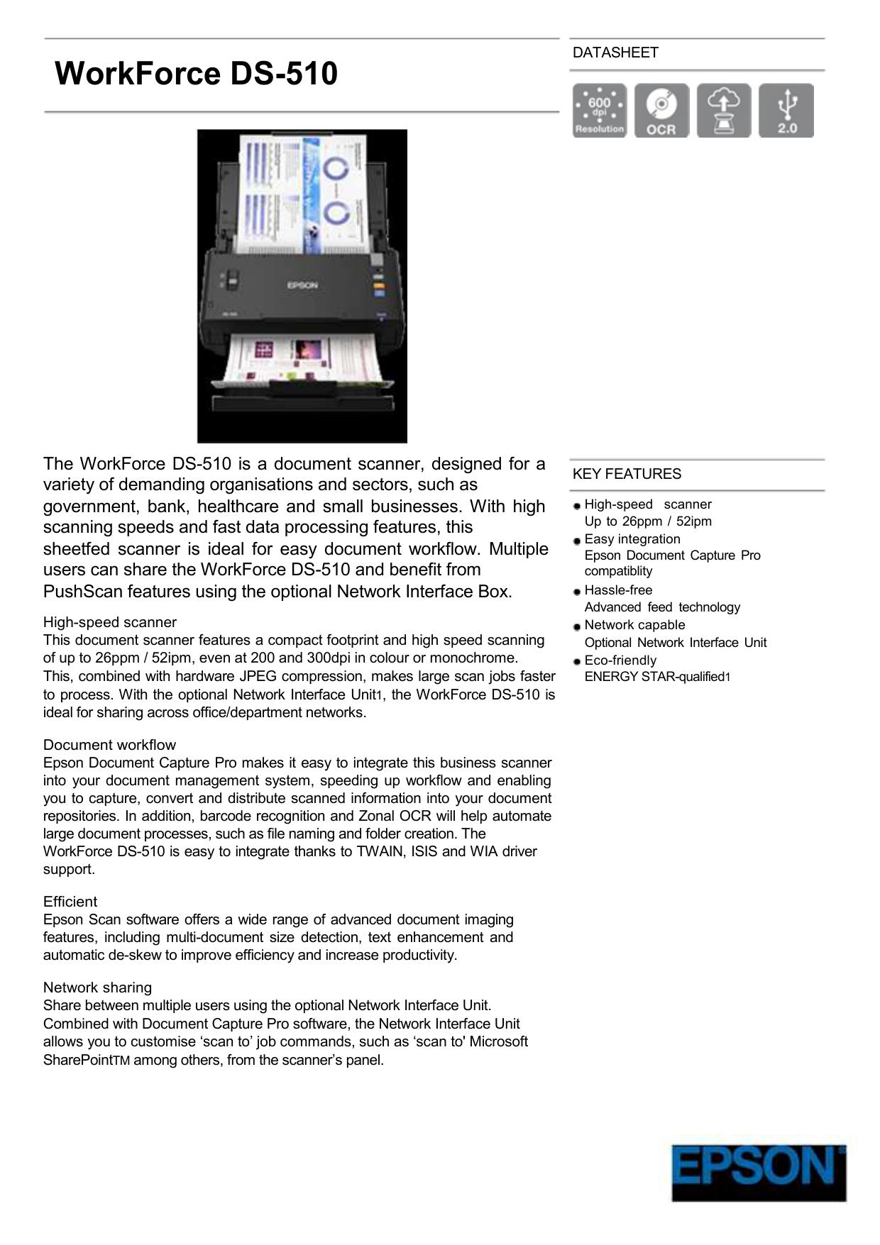 WorkForce DS-510 | manualzz com
