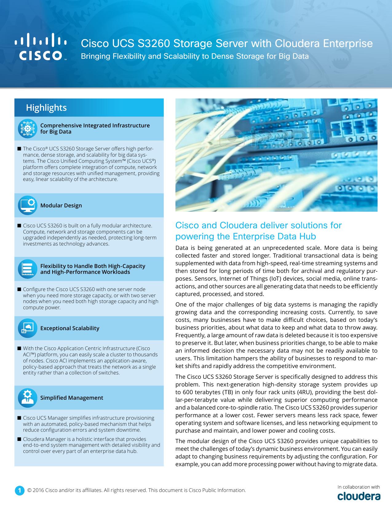 Cisco UCS S3260 Storage Server with Cloudera Enterprise | manualzz com